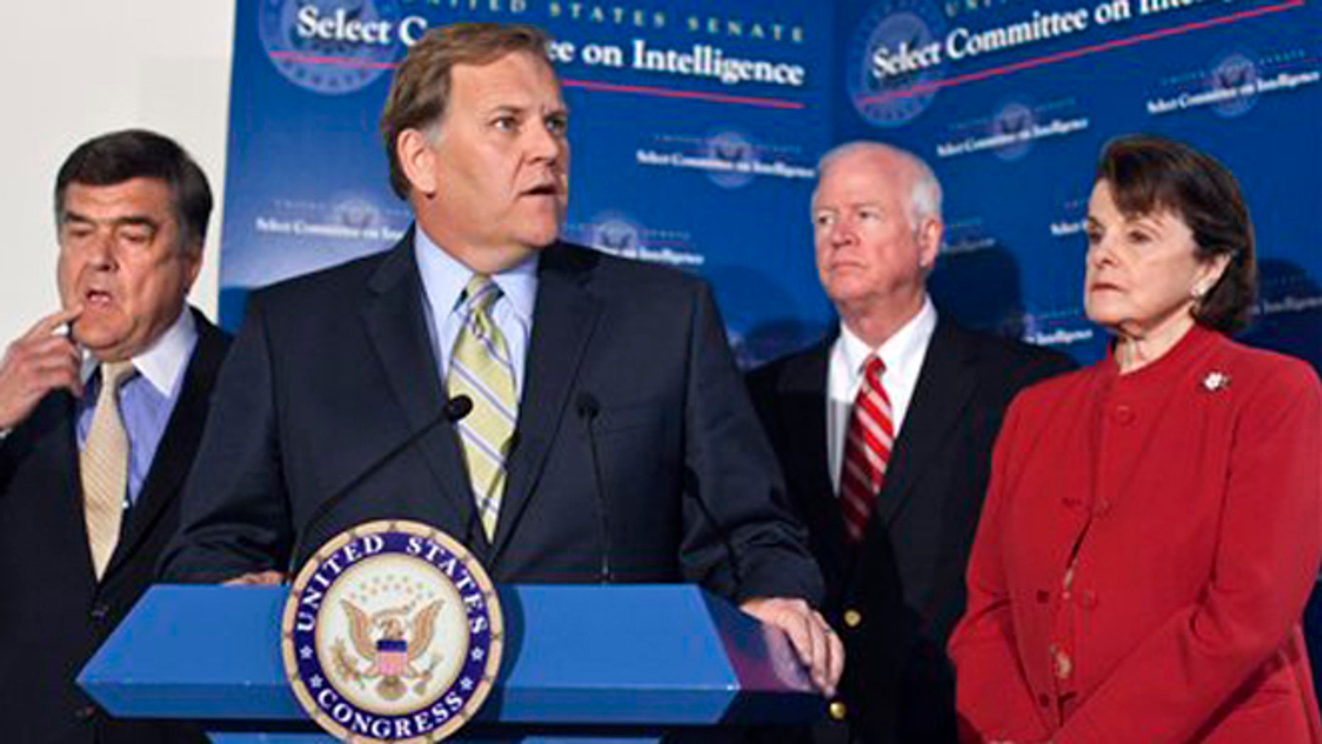 June 7, 2012: House and Senate Intelligence Committees. (L to R) Reps. C.A. Ruppersberger, and Mike Rogers; Sens. Saxby Chambliss and Dianne Feinstein.