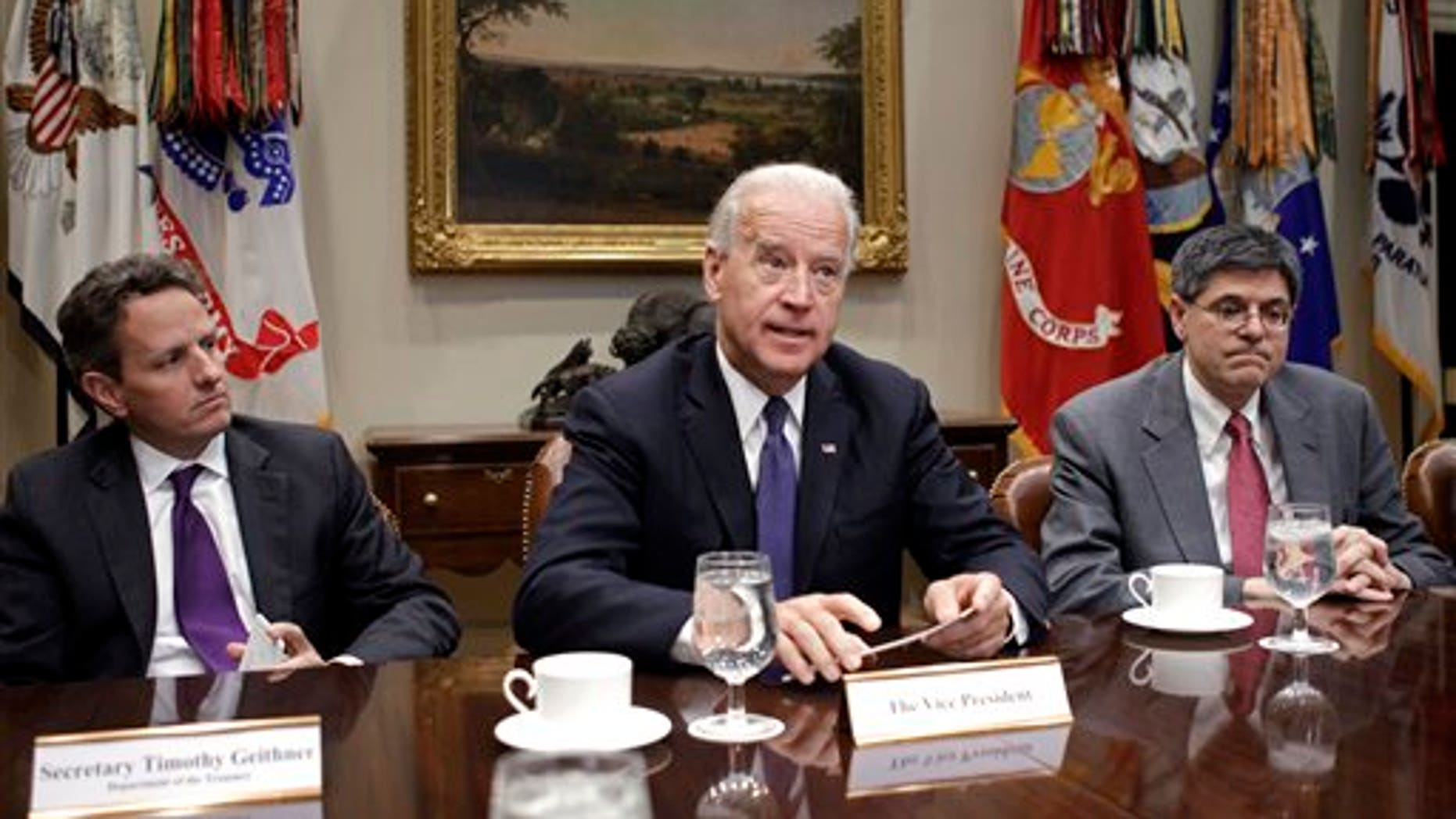 December 2010: VP Joe Biden and Treasury Secretary Tim Geithner during a meeting at the White House. Biden is to begin leading a series of bipartisan talks this week on reducing the debt.