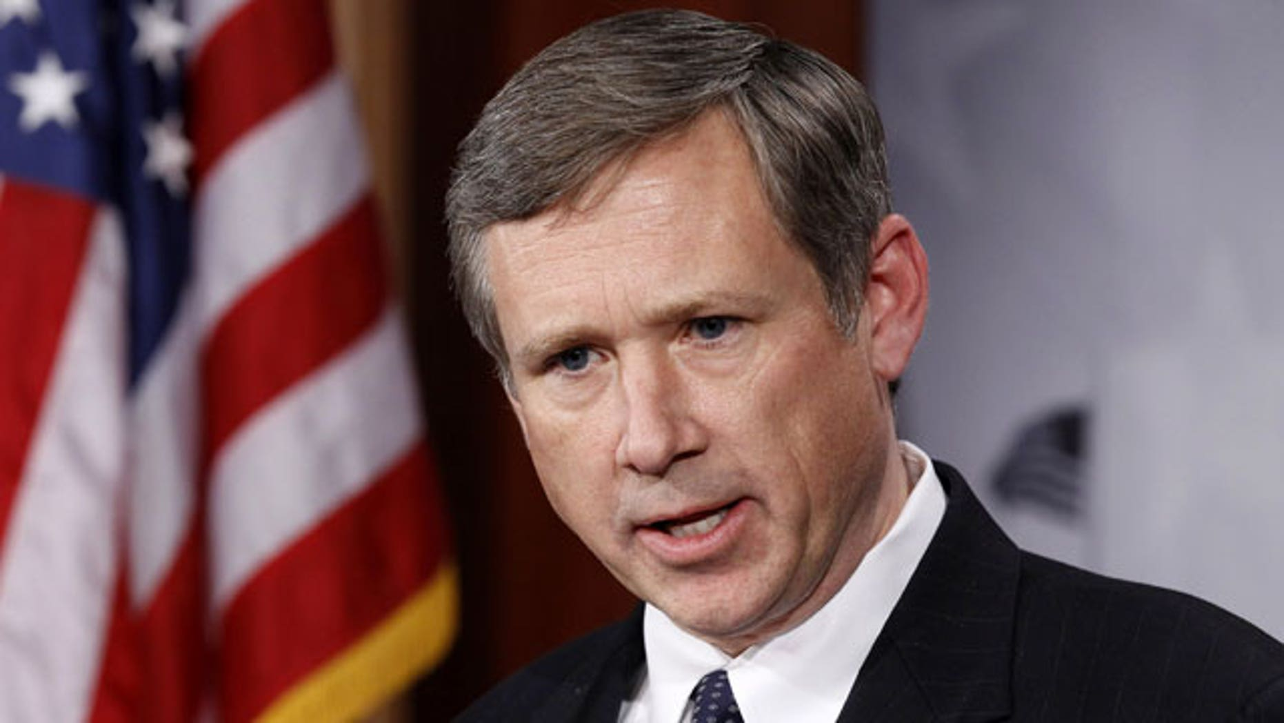 In this Dec. 16, 2010, file photo, Sen. Mark Kirk, R-Ill., talks to the media on Capitol Hill in Washington. Kirk is blocking President Barack Obama's nominee for ambassador to Russia over concerns that the U.S. might provide Moscow with sensitive missile defense information.