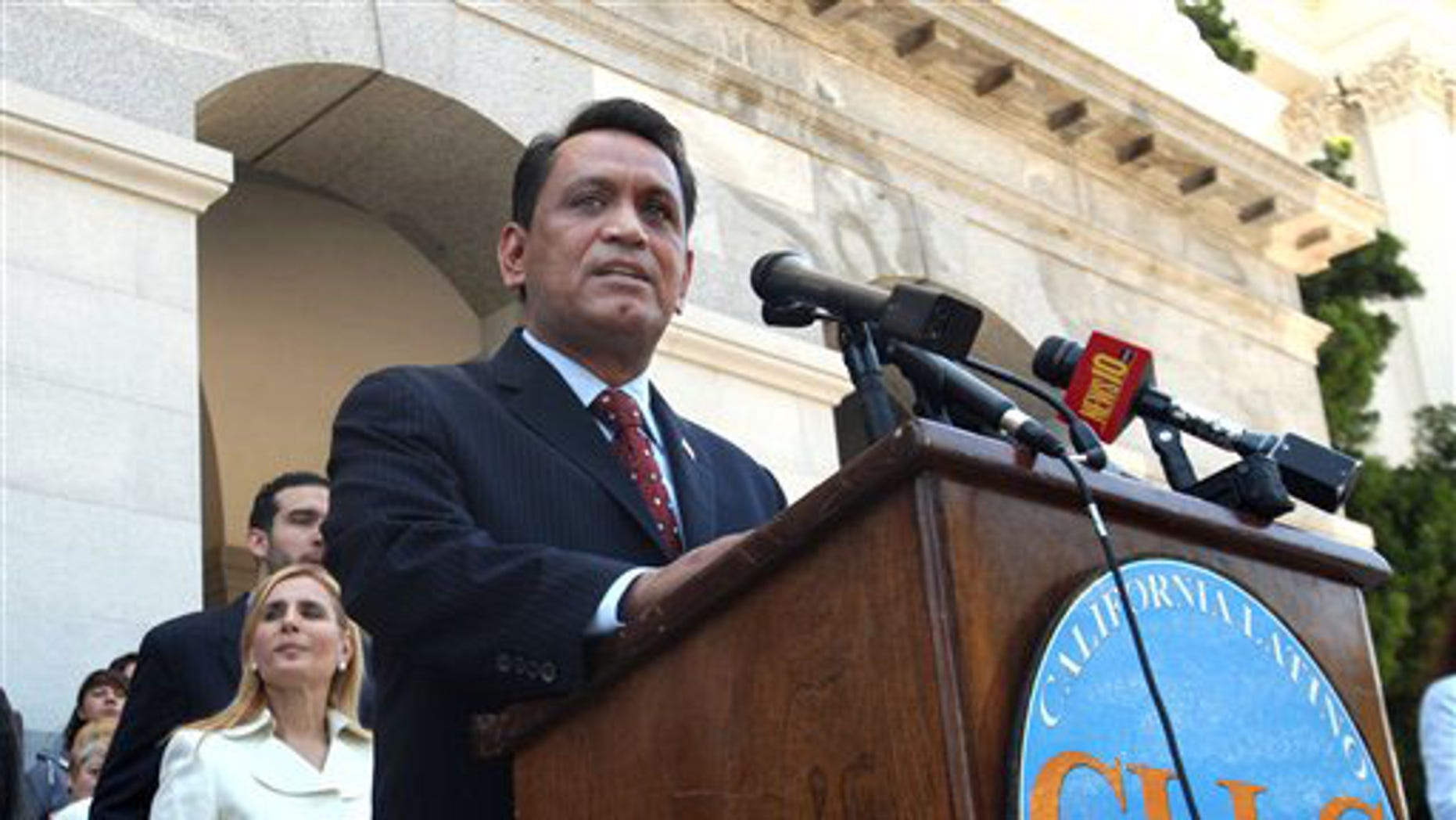June 23, 2010: State Sen. Gil Cedillo, D-Los Angeles, calls on lawmakers to approve his proposed resolution calling on California to begin an economic boycott of Arizona over its controversial immigration law, at the Capitol in Sacramento, Calif. (AP)