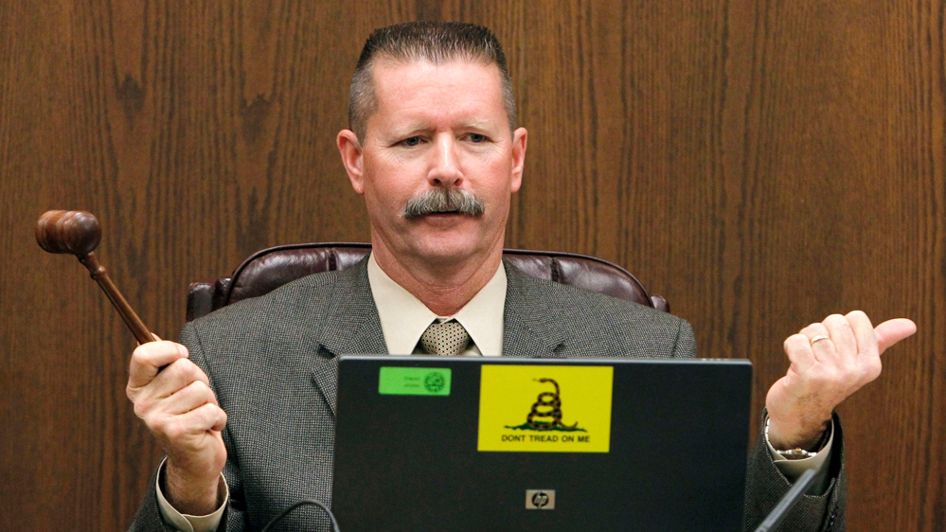 "Sen. Ron Gould, R-Lake Havasu City, and chairman judiciary committee, calls to order a hearing as Arizona lawmakers give their first hearing to a bill that challenges automatic U.S. citizenship for children of illegal immigrants, the state's latest foray into the national debate over illegal immigration at the Arizona Capitol, Monday, Feb. 7, 2011, in Phoenix.  The bill, sponsored by Gould in the Senate, to be heard by the Senate judiciary committee seeks a court interpretation on an element of the 14th Amendment, which guarantees citizenship to people born in the U.S. who are ""subject to the jurisdiction"" of this country. (AP Photo/Ross D. Franklin)"
