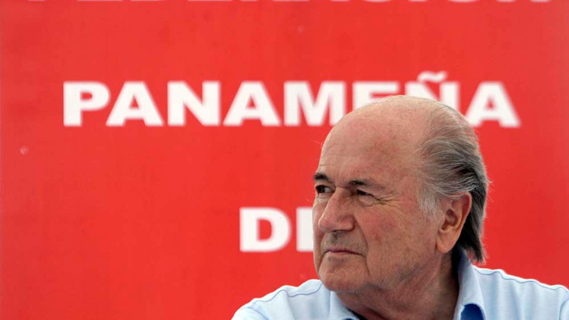 FIFA President Joseph Blatter looks on during a groundbreaking ceremony in Panama City, Saturday April 16, 2011. On the last day of his Central American tour Blatter attended the groundbreaking for the headquarters of the Panamanian Football Federation, the opening of a U-13 soccer league and met with Panama's President Ricardo Martinelli. (AP Photo/Arnulfo Franco)