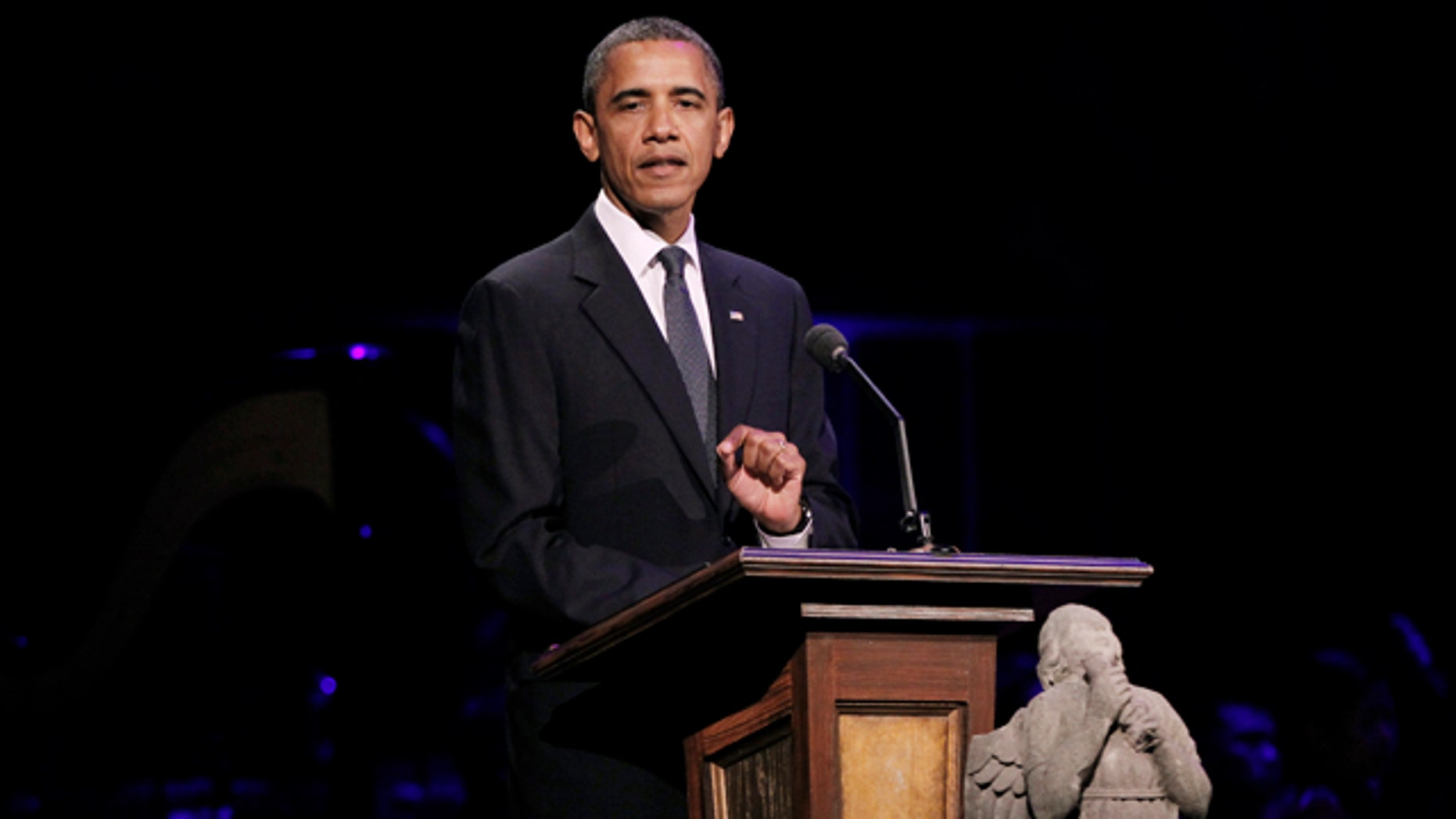President Barack Obama speaks at 'A Concert for Hope' at the Kennedy Center in Washington.