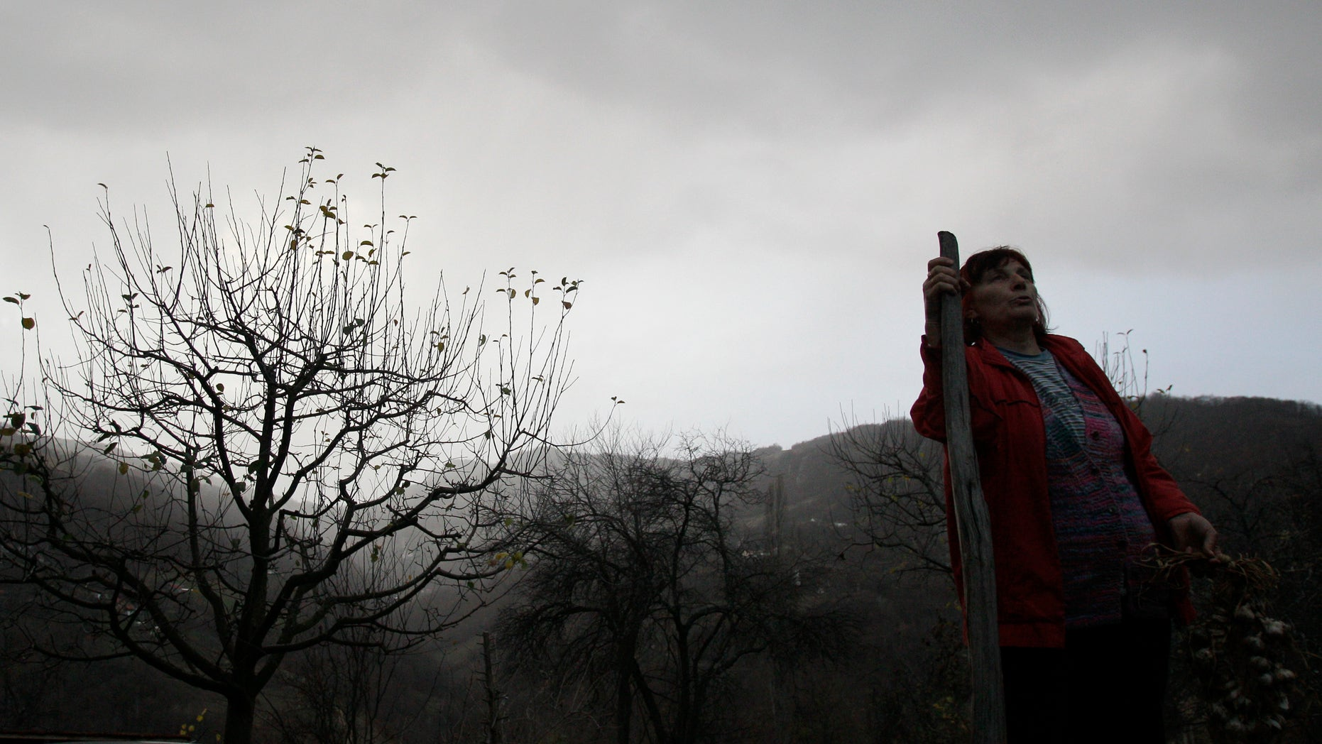 Nov. 30, 2012: In this photo Milka  Prokic is seen at twilight with a garland of garlic and a wooden stake, in the village of Zarozje, near the Serbian town of Bajina Basta.