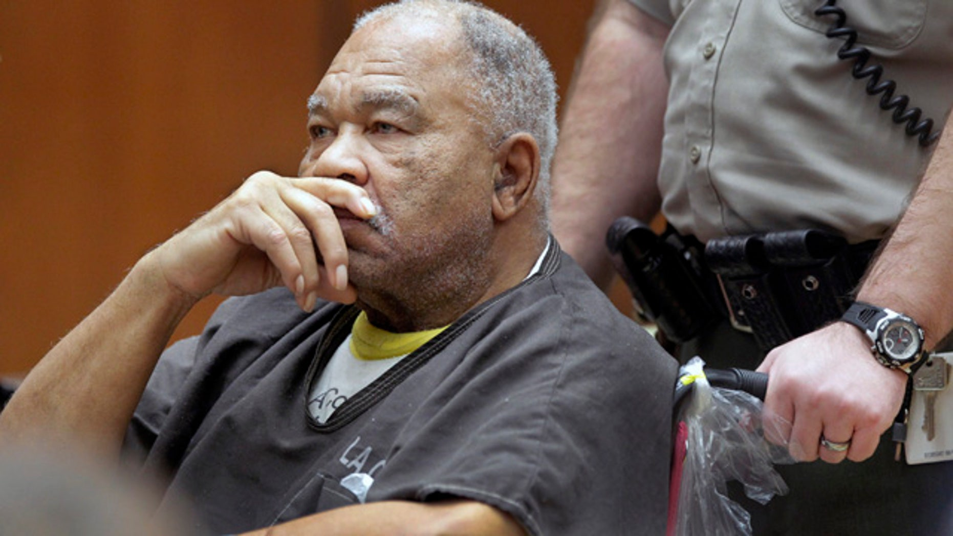 FILE - In this Monday, March 4, 2013 file photo, Samuel Little appears at Superior Court in Los Angeles. (AP Photo/Damian Dovarganes,File)