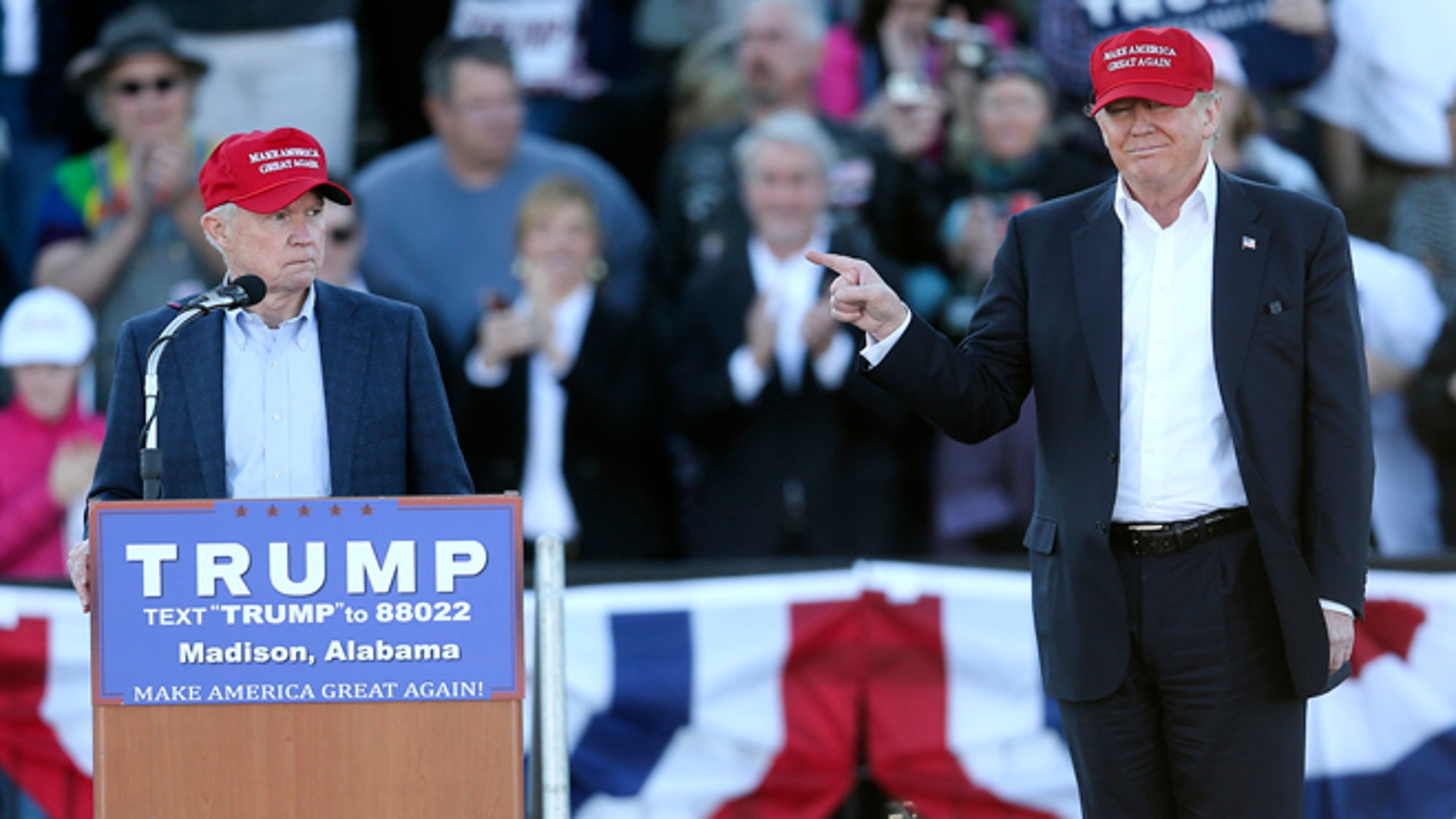 Donald Trump and Sen. Jeff Sessions during a rally Sunday, Feb. 28, 2016, in Madison, Ala.