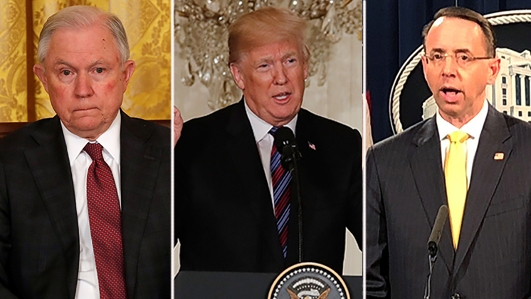 President Trump criticized the Justice Department, noting that he wouldn't stay away forever. Trump, center, has blasted Attorney General Jeff Sessions, left, for recusing himself from the Russia investigation, and reportedly wants to remove Deputy Attorney General Rod Rosenstein, right.