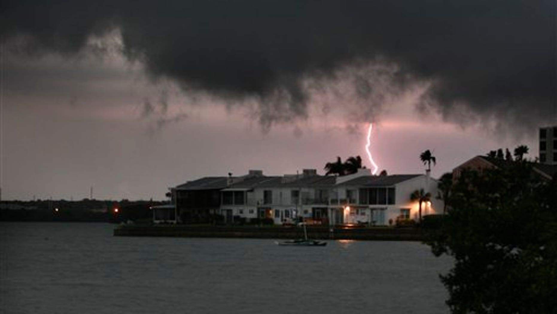 March 31: Dark clouds loom over Palm Harbor as a severe storm moved quickly through Tampa Bay, Florida.