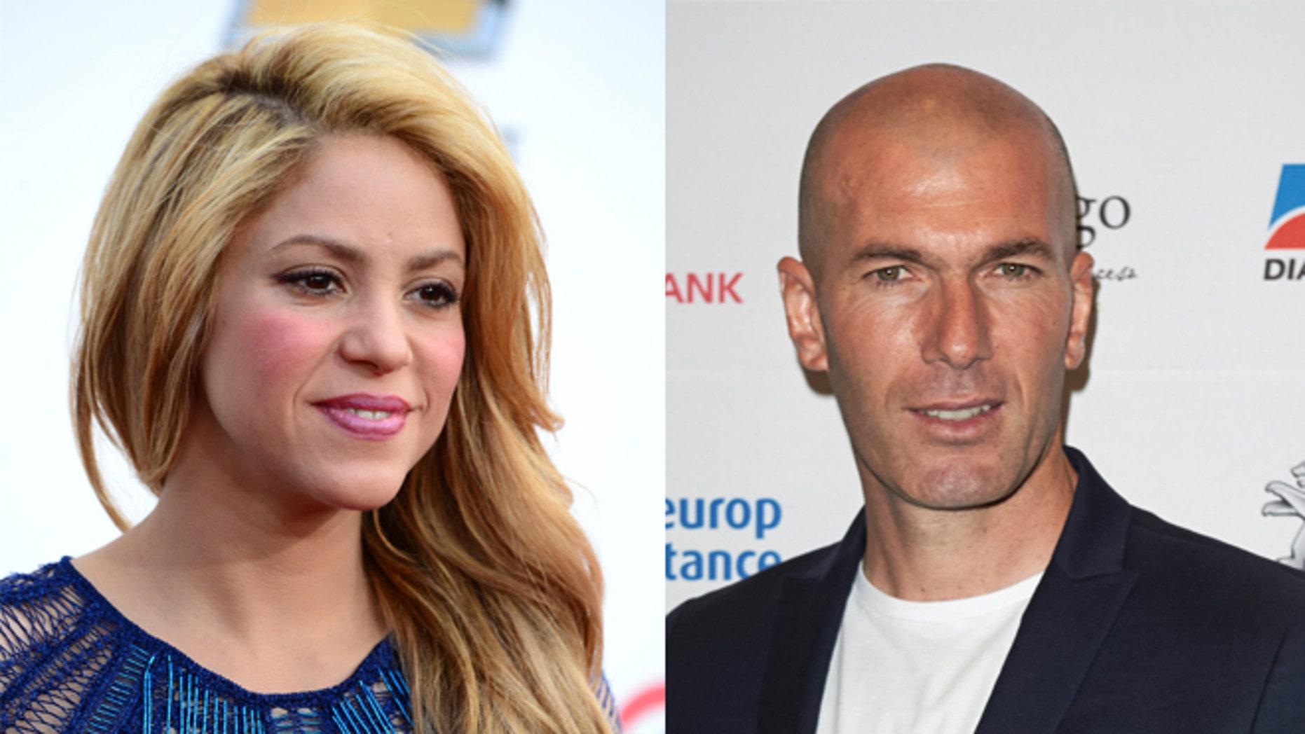 Shakira (left) and Zinedine Zidane. (Photos: Getty Images)