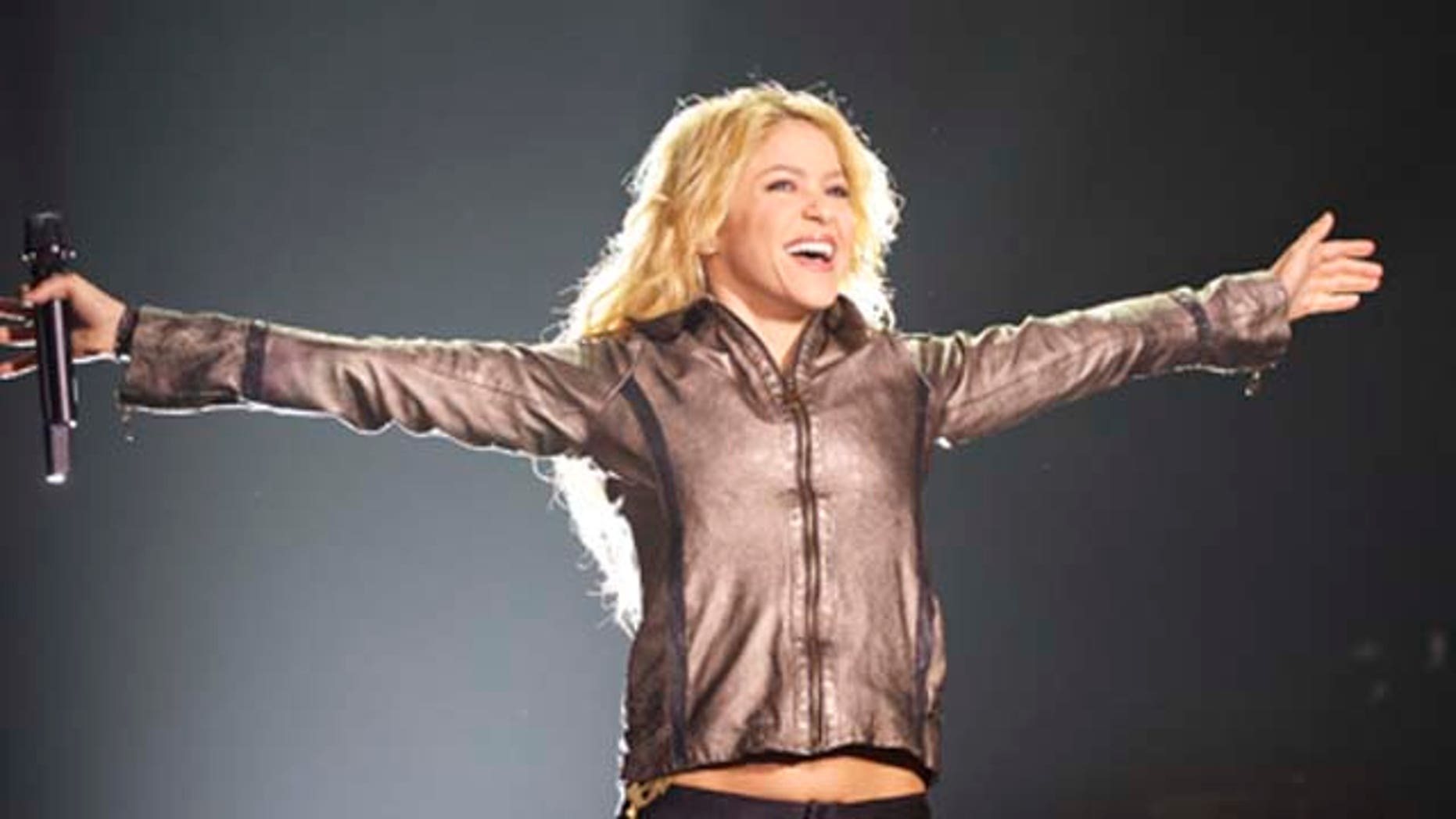 June 03, 2011: Singer Shakira performs on stage at the Vicente Calderón stadium in Madrid, Spain.