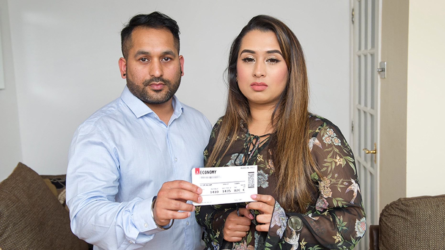 Shannen and Sundeep Sahota are frustrated with the airline's handling of the situation.