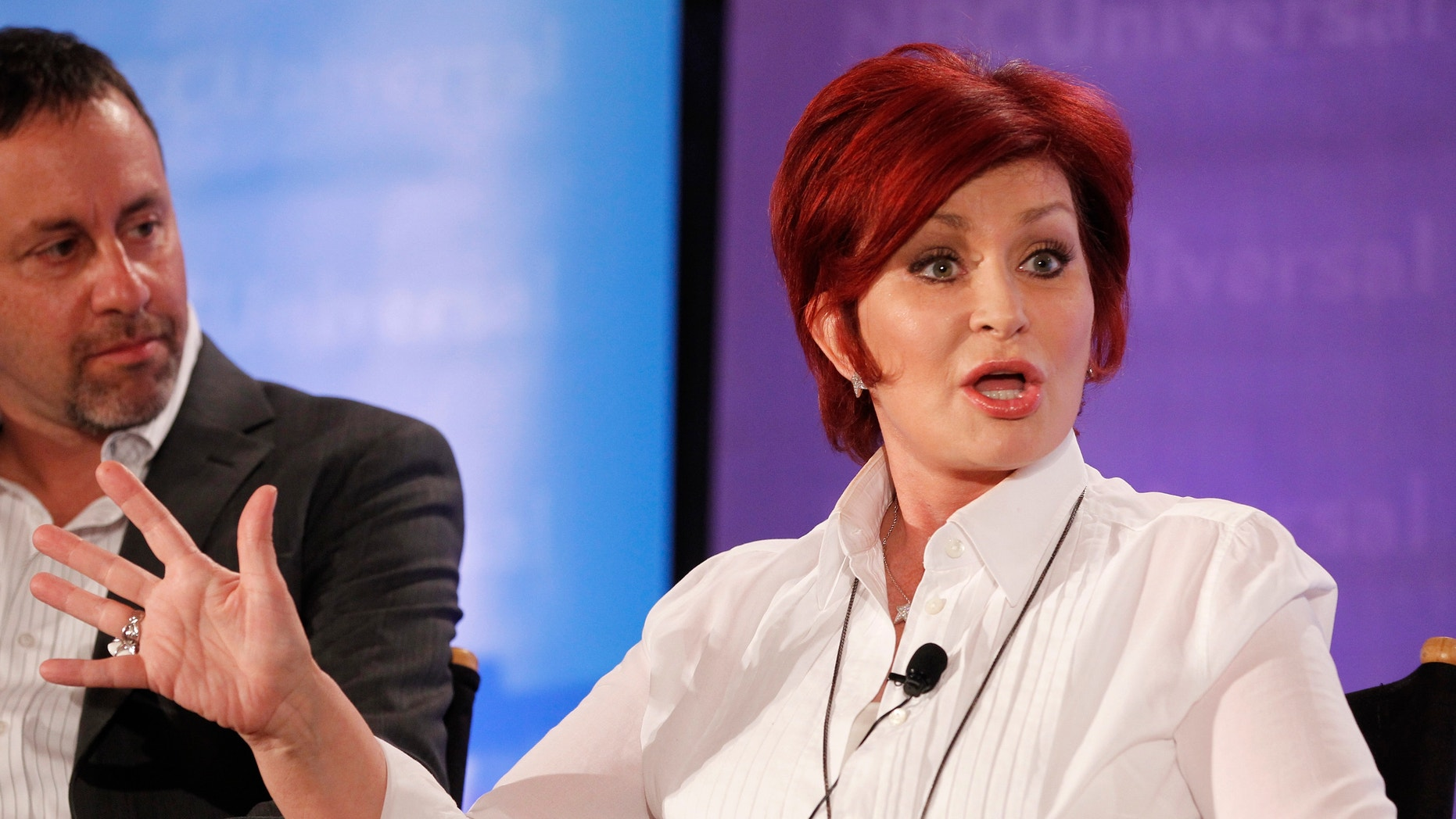 """Sharon Osbourne, one of the judges on """"America's Got Talent"""", takes part in a panel discussion at the NBC Universal Summer Press Day 2012."""