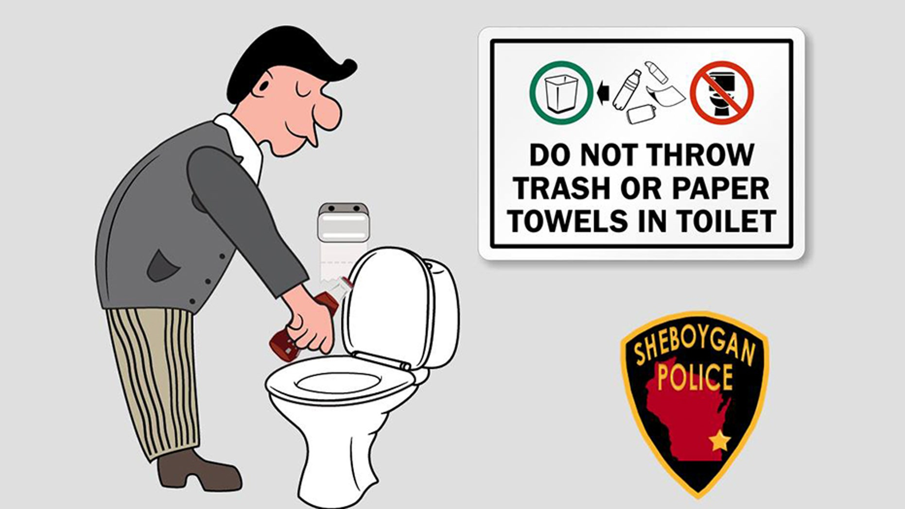 Sheboygan police said a toilet at a community center in Wisconsin has been clogged numerous times over the past year and a half with a 20 ounce soda bottle.