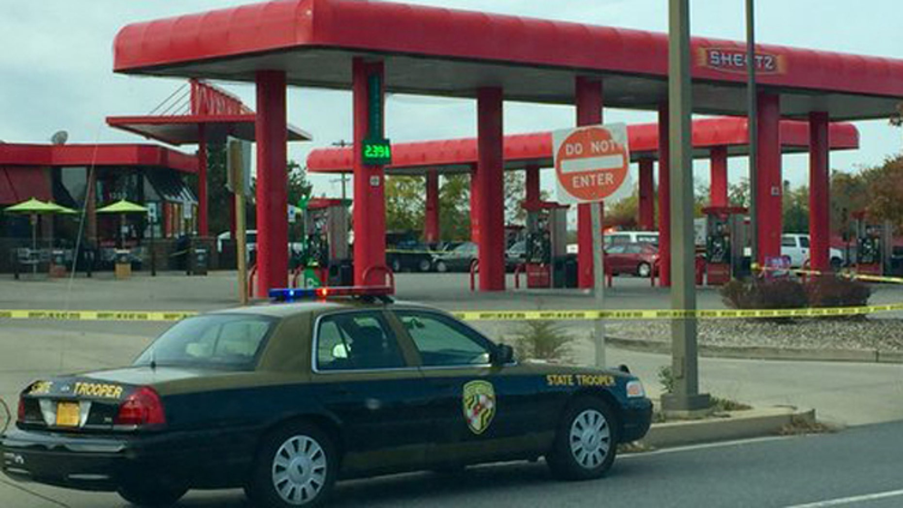 A man was reportedly shot outside a Maryland gas station by a state trooper on Monday.