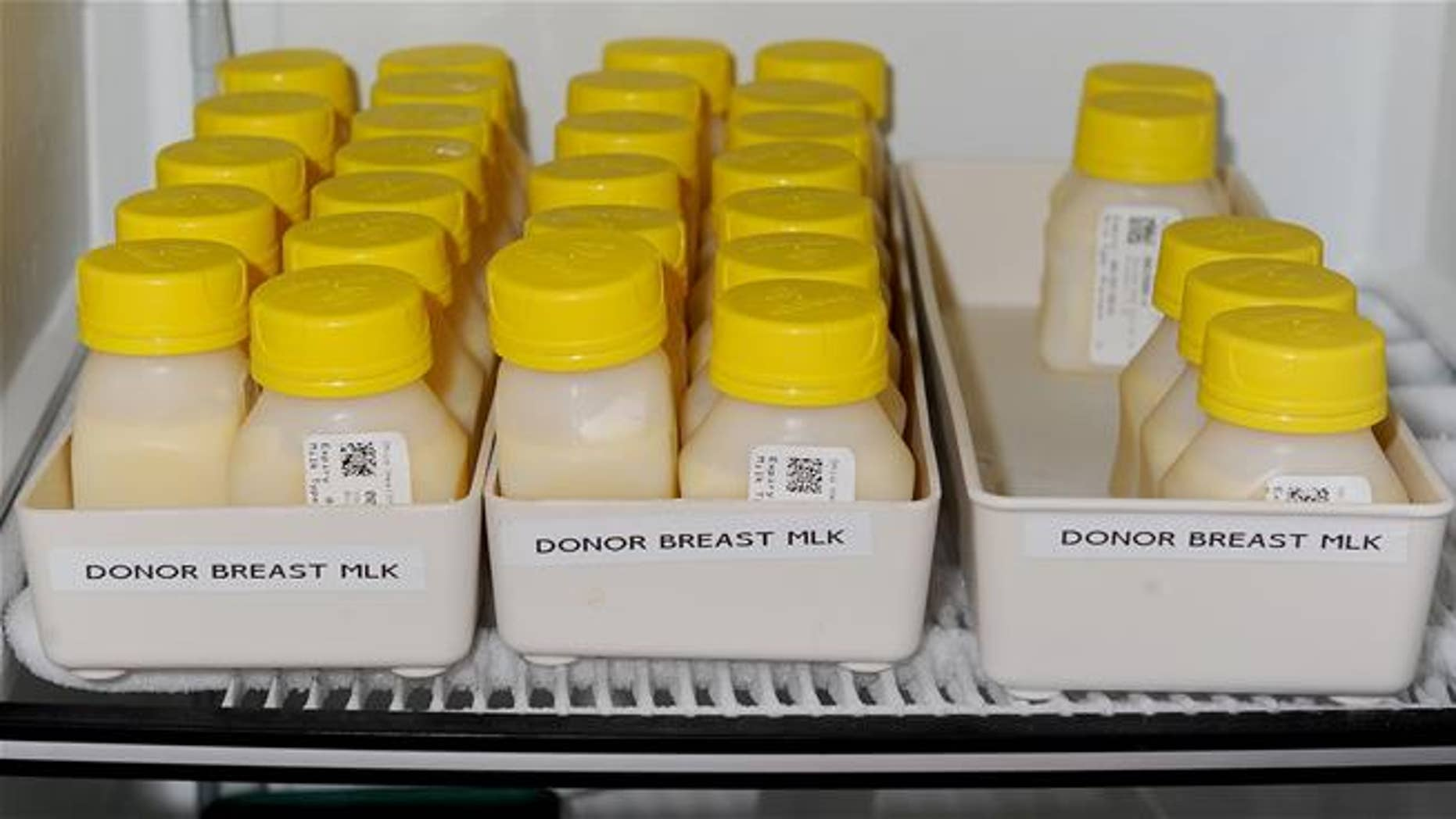 A file photo of donated breast milk ready for premature babies.