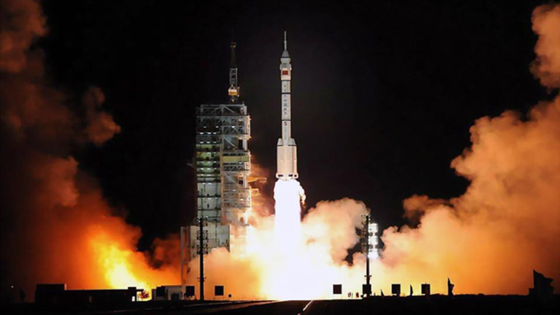 The launch of China's Shenzhou 7 at Jiuquan Satellite Launch Center on September 25, 2008.