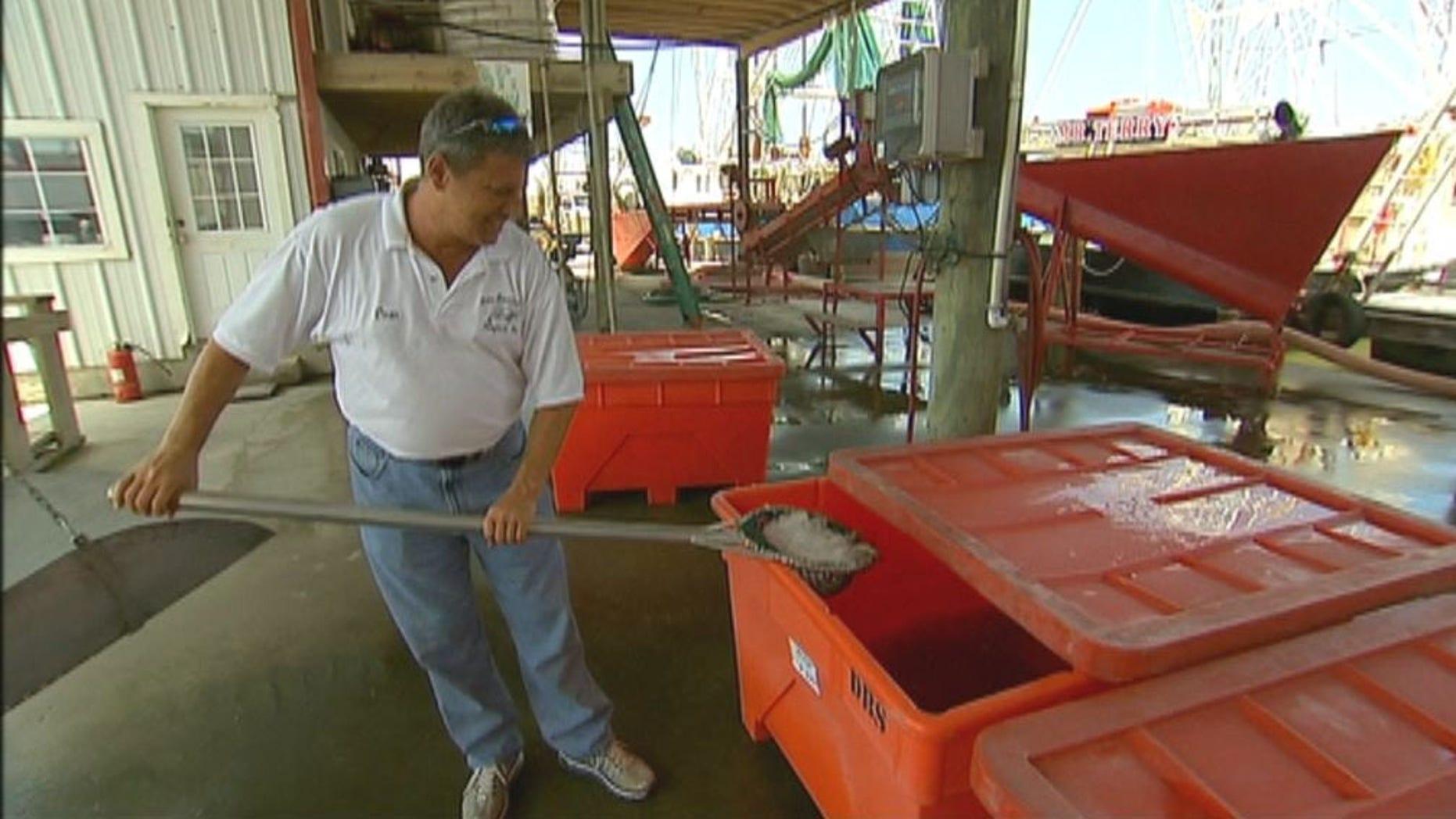 Dean Blanchard at his warehouse in Grand Isle, LA.