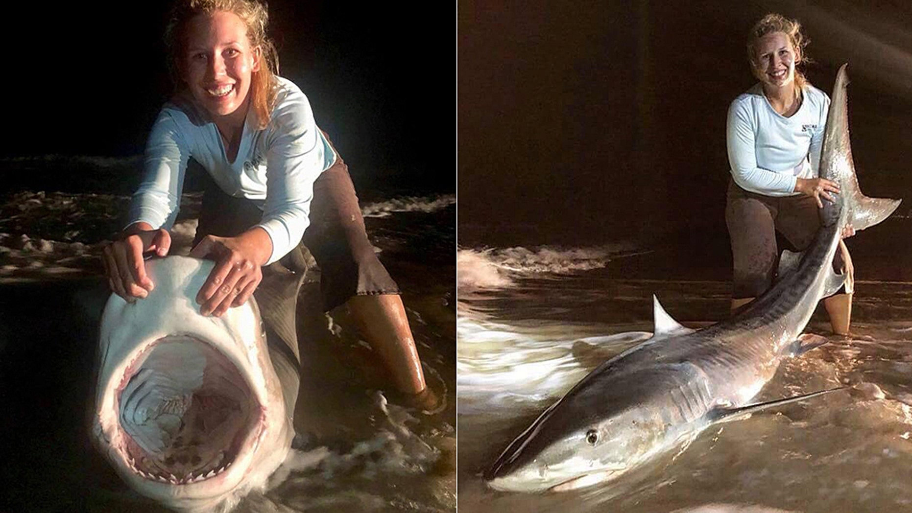 "Tomlinson said she ""finally caught my tiger shark I've been dreaming of."""