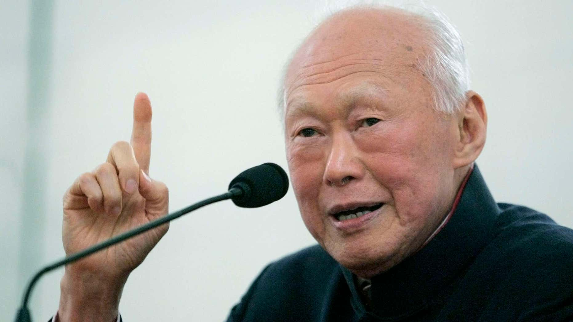 Dec. 20, 2014: Singapore's Lee Kuan Yew speaks to a group of journalists and publishers in Singapore.