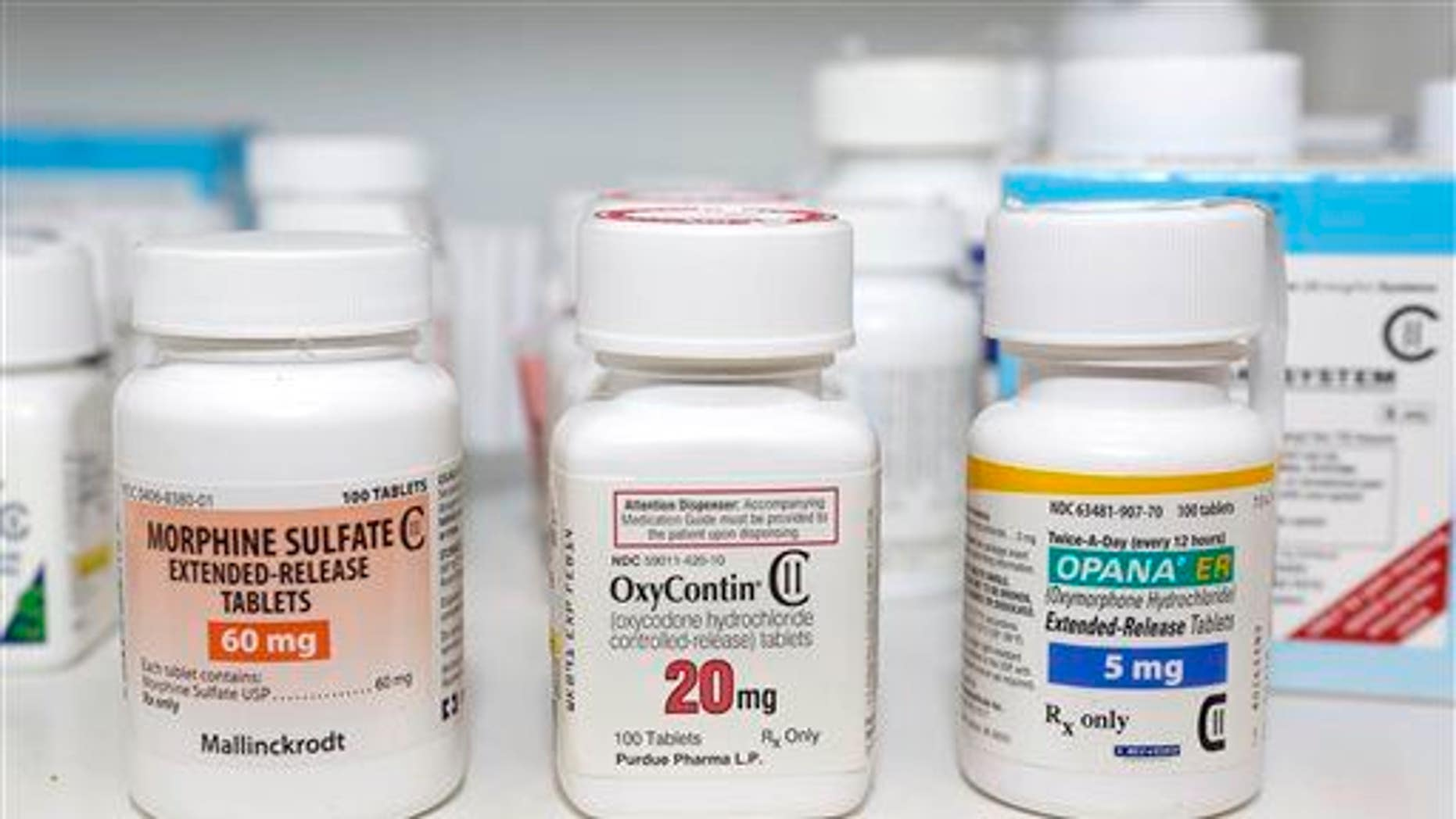 In this Jan. 18, 2013 file photo, Schedule 2 narcotics: Morphine Sulfate, OxyContin and Opana are displayed for a photograph in Carmichael, Calif.