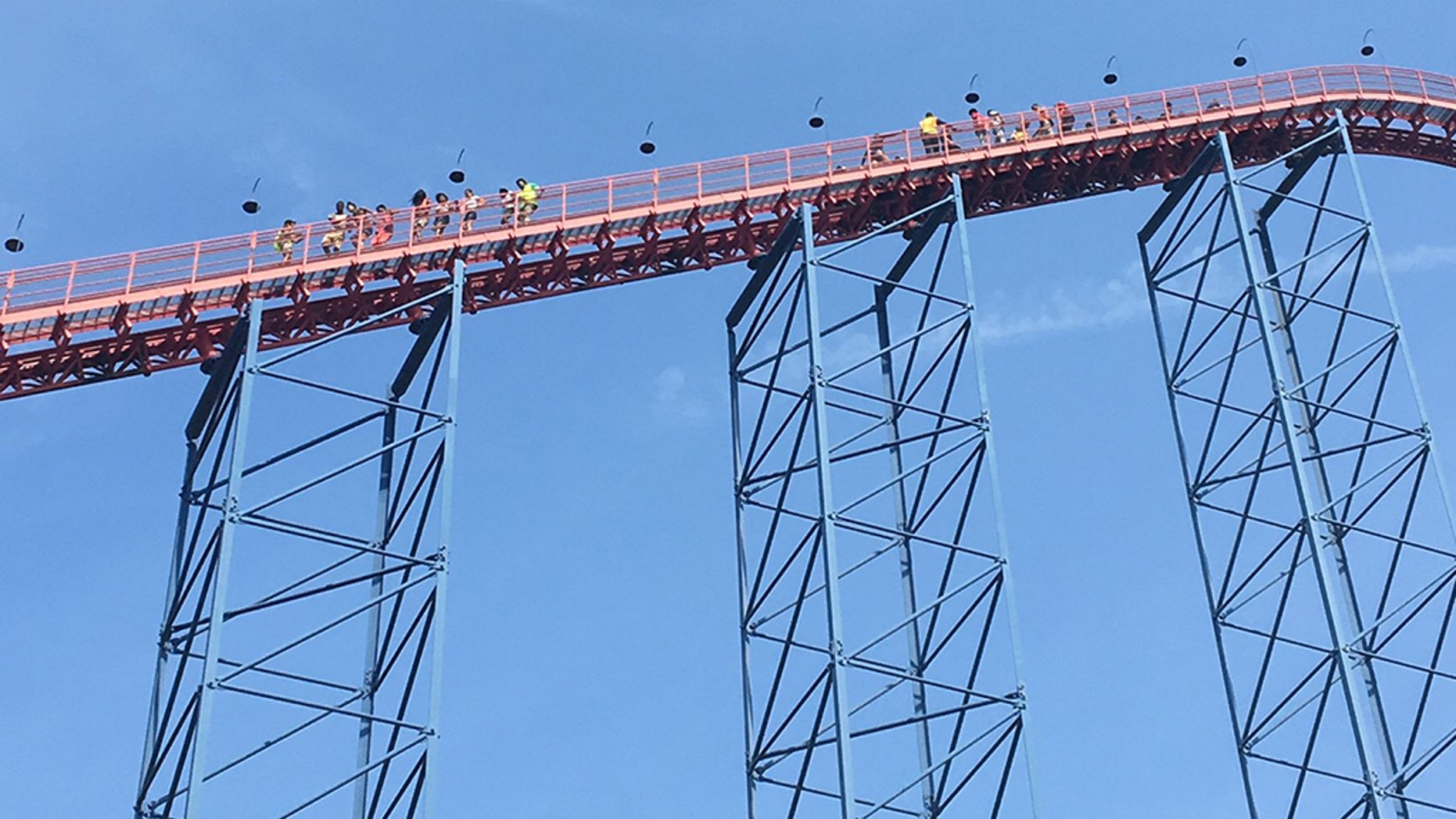Riders had to be rescued from the Superman: Ride of Steel ride after the car stalled on the tracks.