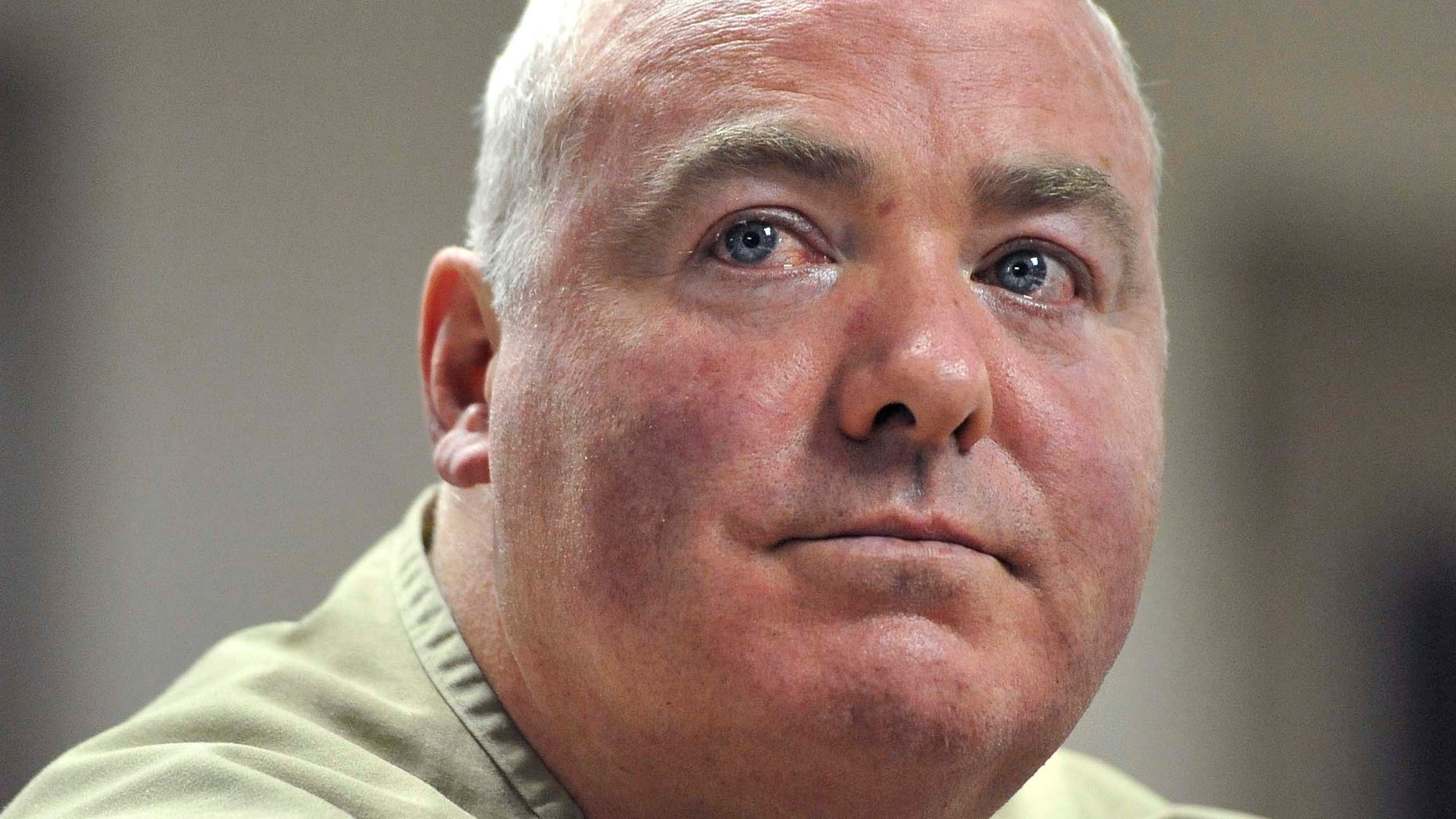 Oct. 24, 2012: In this file photo, Michael Skakel listens during a parole hearing at McDougall-Walker Correctional Institution in Suffield, Conn.