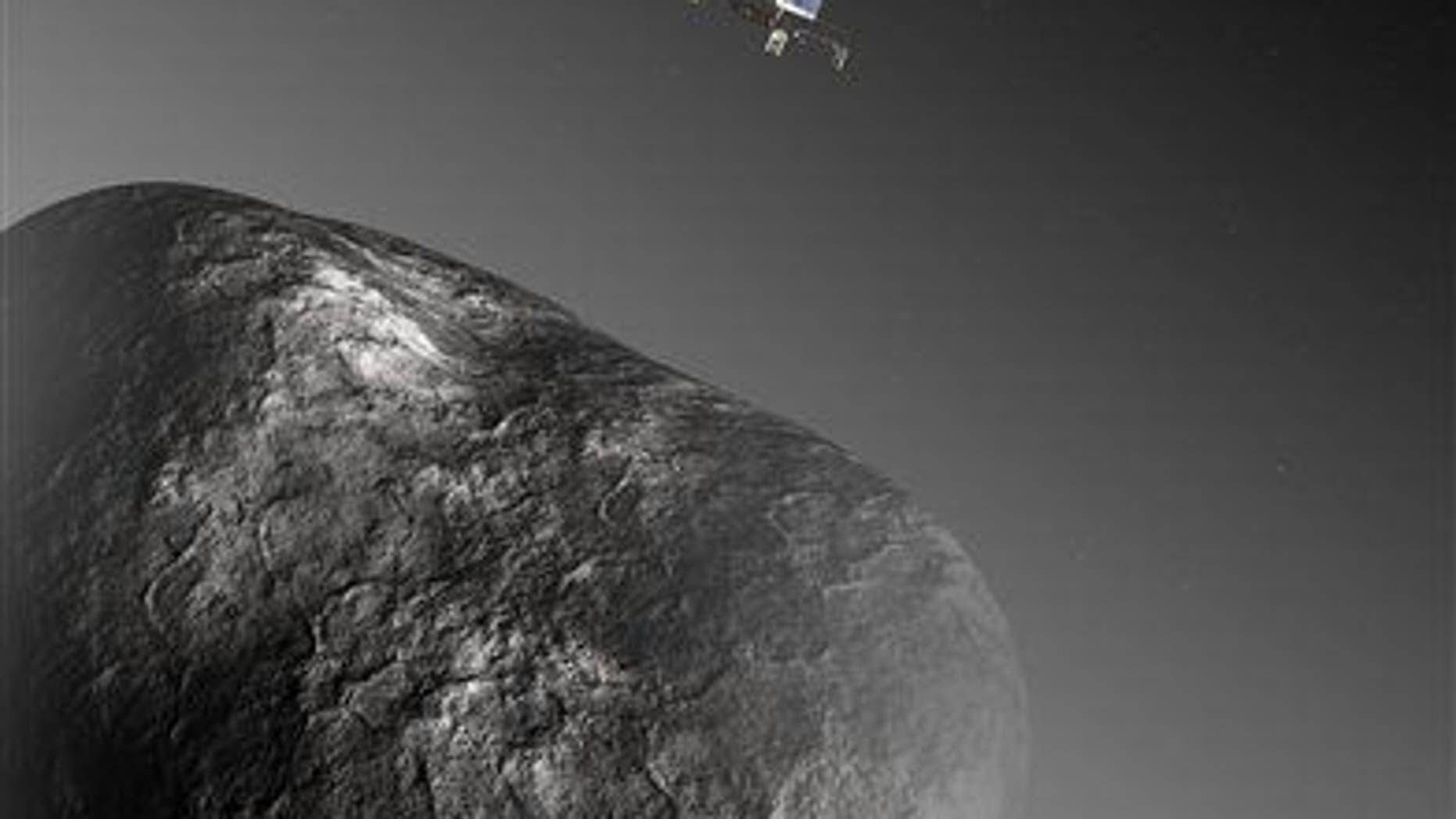 An artist's impression of the Rosetta orbiter deploying the Philae lander to comet 67P/Churyumov–Gerasimenko.
