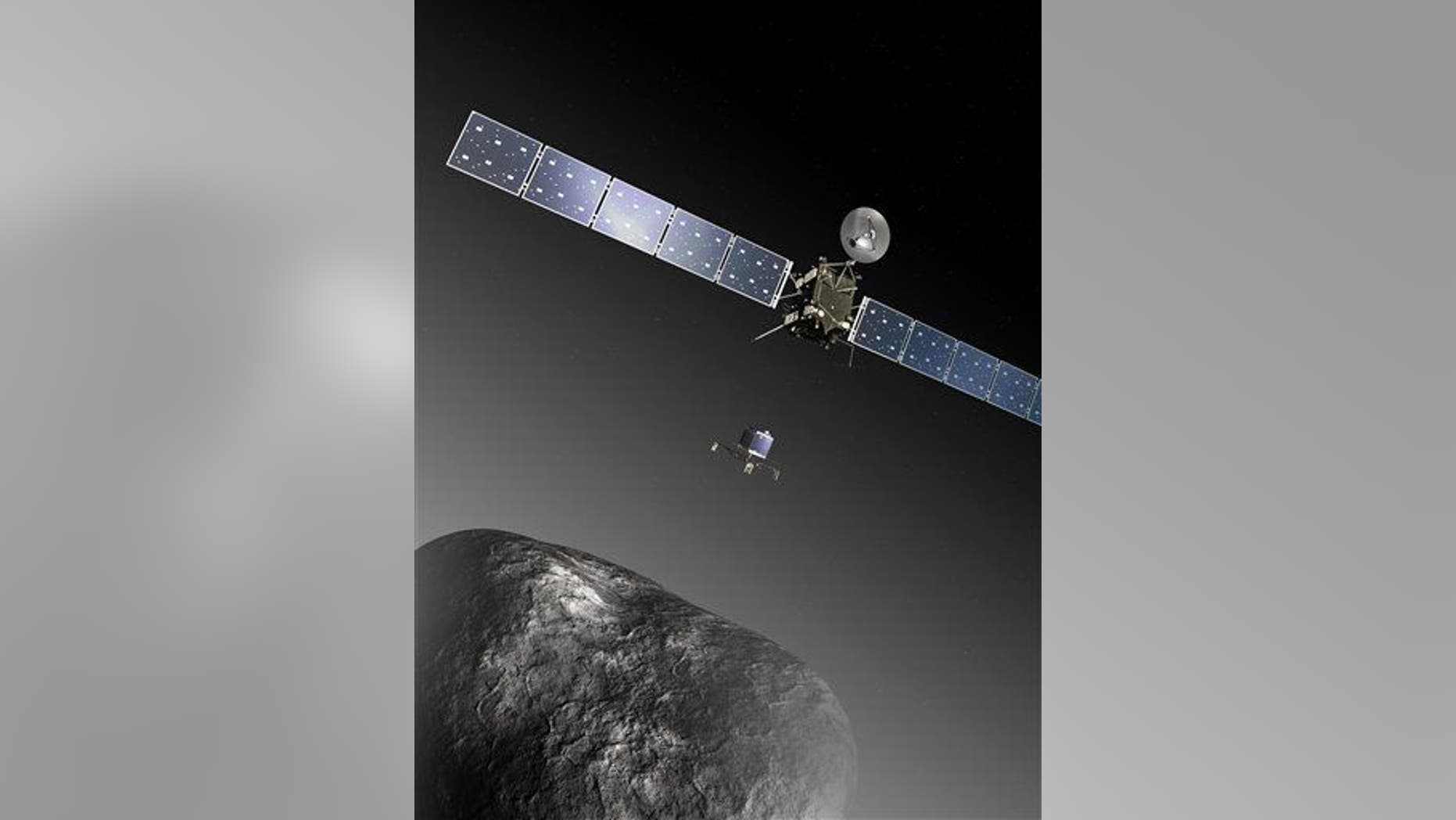 An artist's impression of the Rosetta orbiter deploying the Philae lander to comet 67P/Churyumov–Gerasimenko.