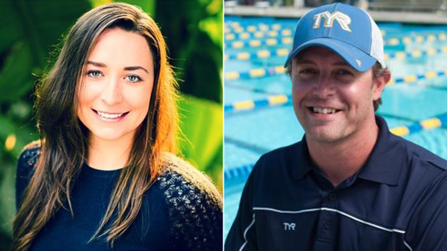 Olympian Ariana Kukors Smith (left) is suing USA Swimming, alleging it covered up sexual abuse by her former coach, Sean Hutchison (right). (Twitter / TYR Sport, Inc.)