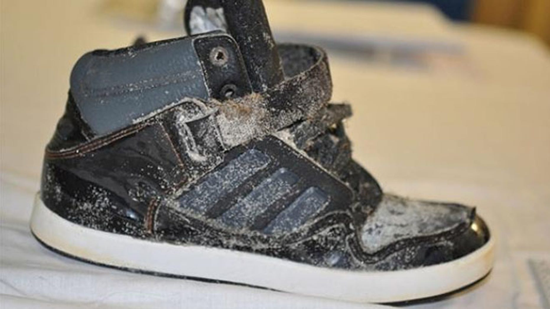 An Adidas high-top sneaker was discovered with the remains of a foot inside.