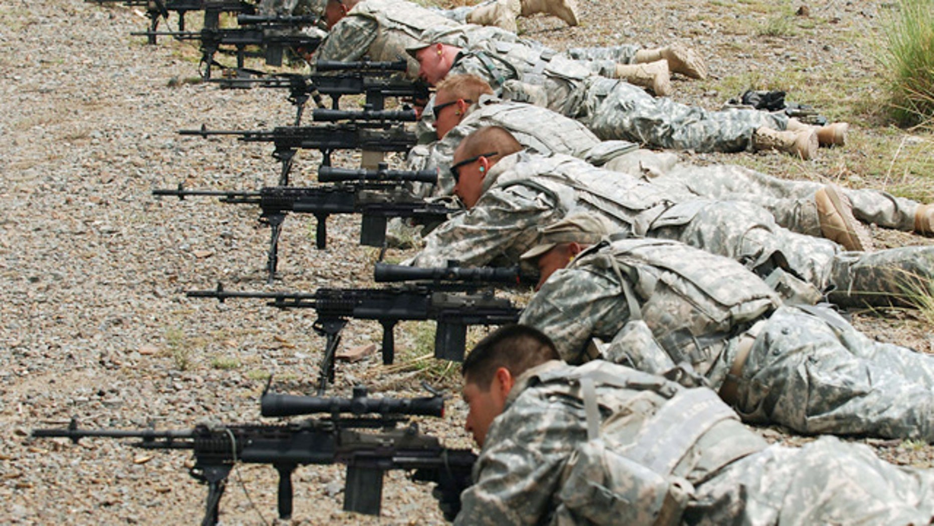 Soldiers from units within Task Force Currahee fire at iron targets over 500 meters away during a range day portion of a training class on the newly-issued M14 during a four-day training class at Forward Operating Base Salerno, Khost province, Sept. 8.