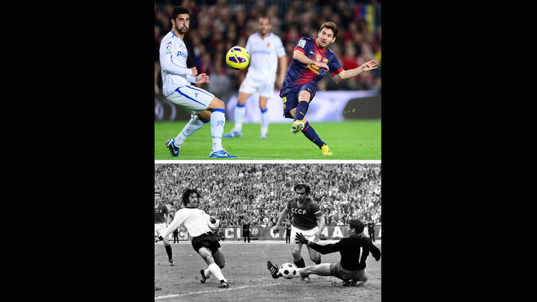 This combo of two file photos shows at top; FC Barcelona's Lionel Messi, from Argentina, scoring his second goal against Zaragoza during a Spanish La Liga soccer match at the Camp Nou stadium in Barcelona, Spain, in a Nov. 17, 2012 file photo, and at bottom; a June 18, 1972 file photo of Gerd Mueller, left, of West Germany, scoring a goal against the Soviet Union in the Heysel Stadium, in Brussels.