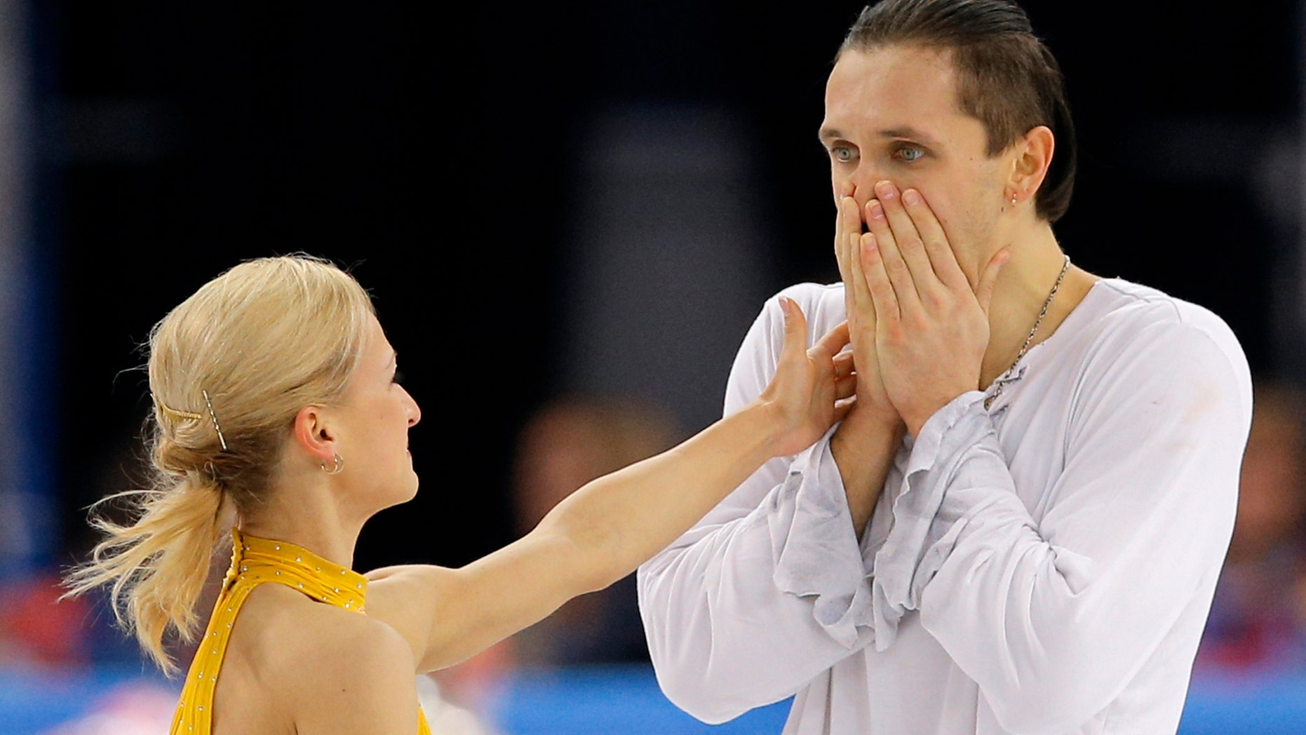 Feb. 12, 2014: Tatiana Volosozhar and Maxim Trankov of Russia react after they competed in the pairs free skate figure skating competition at the Iceberg Skating Palace during the 2014 Winter Olympics in Sochi, Russia.