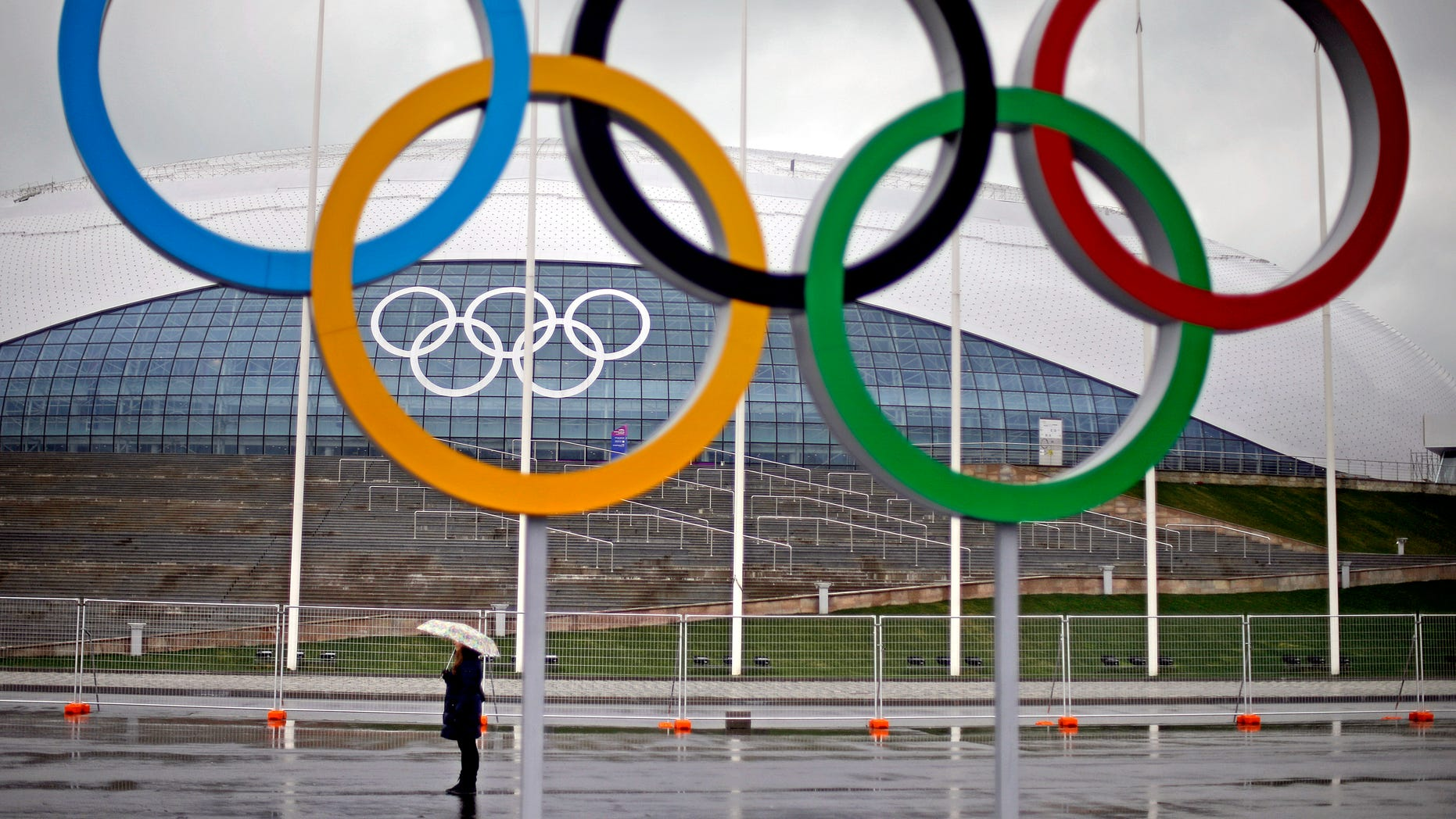 Jan. 31, 2014 - The Olympic rings are seen outside the Bolshoy Ice Dome, site of the ice hockey competitions at the 2014 Winter Olympics.