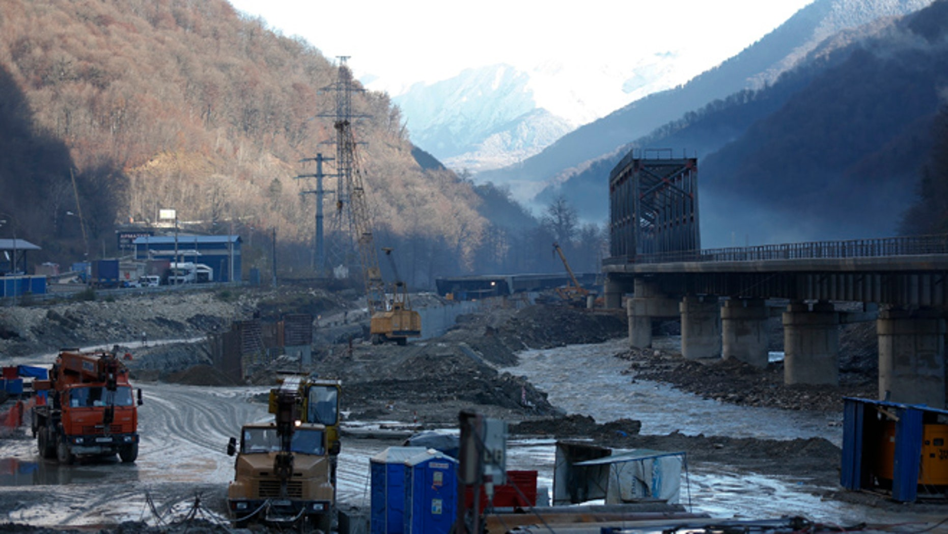 FILE 2012: A view shows a road and railway link to Krasnaya Polyana, a venue for the Sochi 2014 winter Olympics.