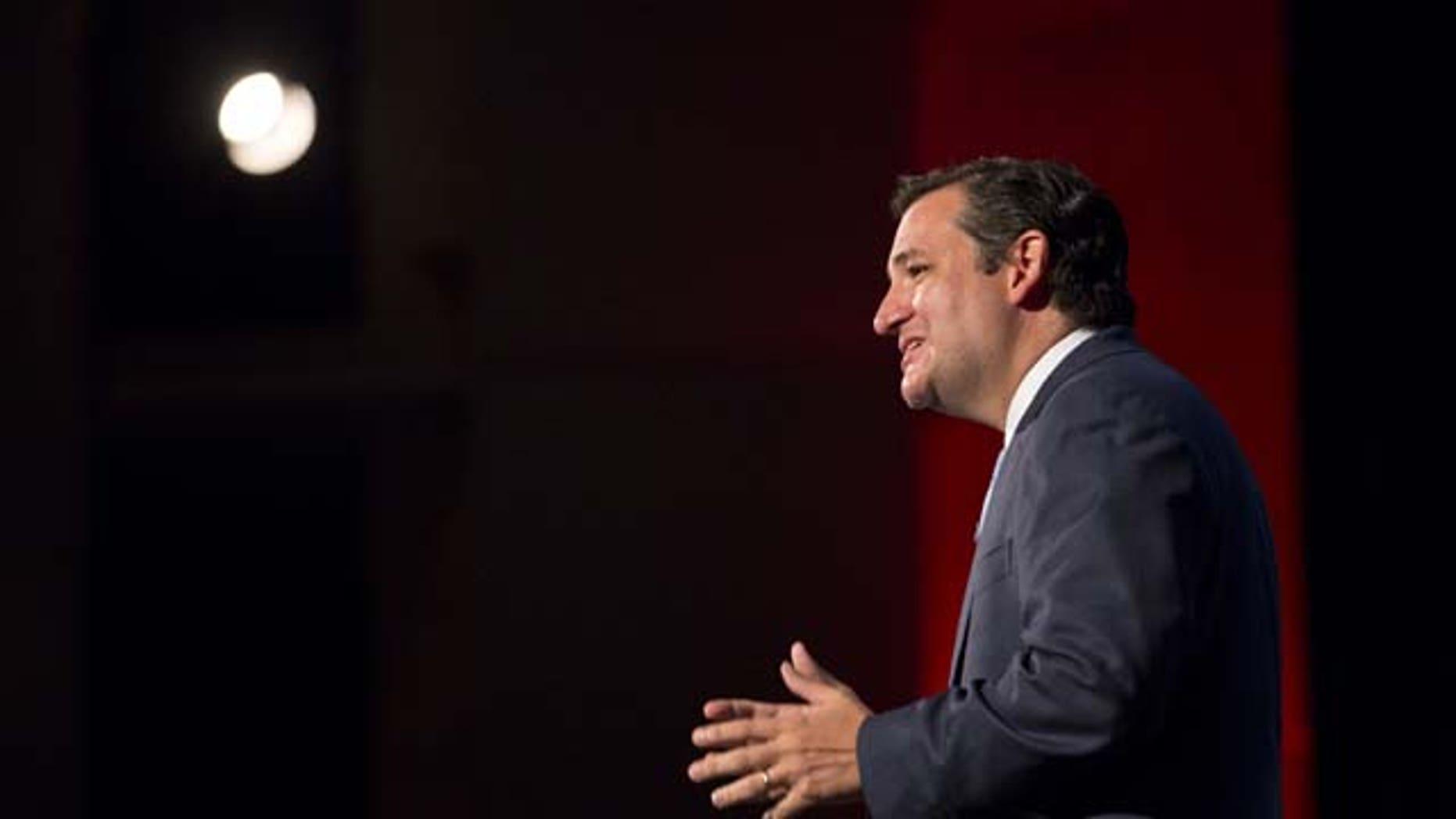 August 10, 2013: Sen. Ted Cruz, (R-Texas), speaks during the Family Leadership Summit in Ames, Iowa (AP Photo)
