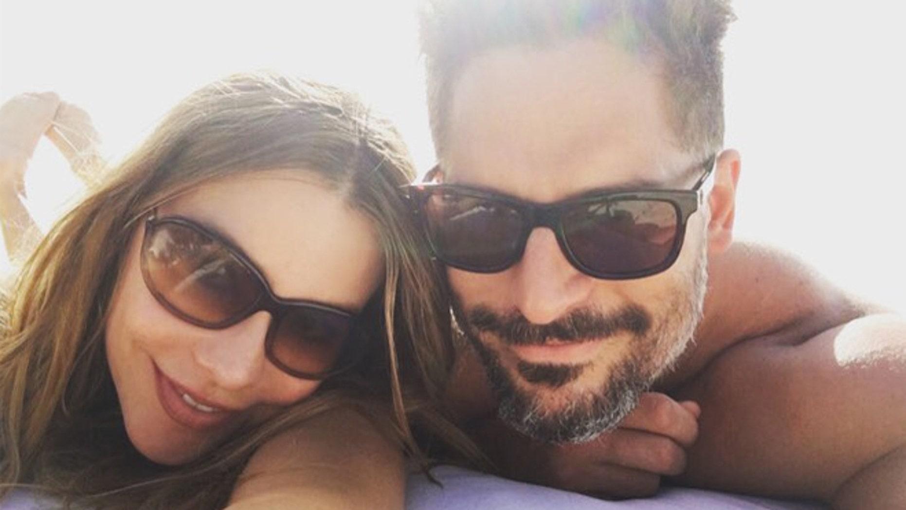 Sofia Vergara and Joe Manganiello on the beach in Turks and Caicos. (Photo: via Instagram)