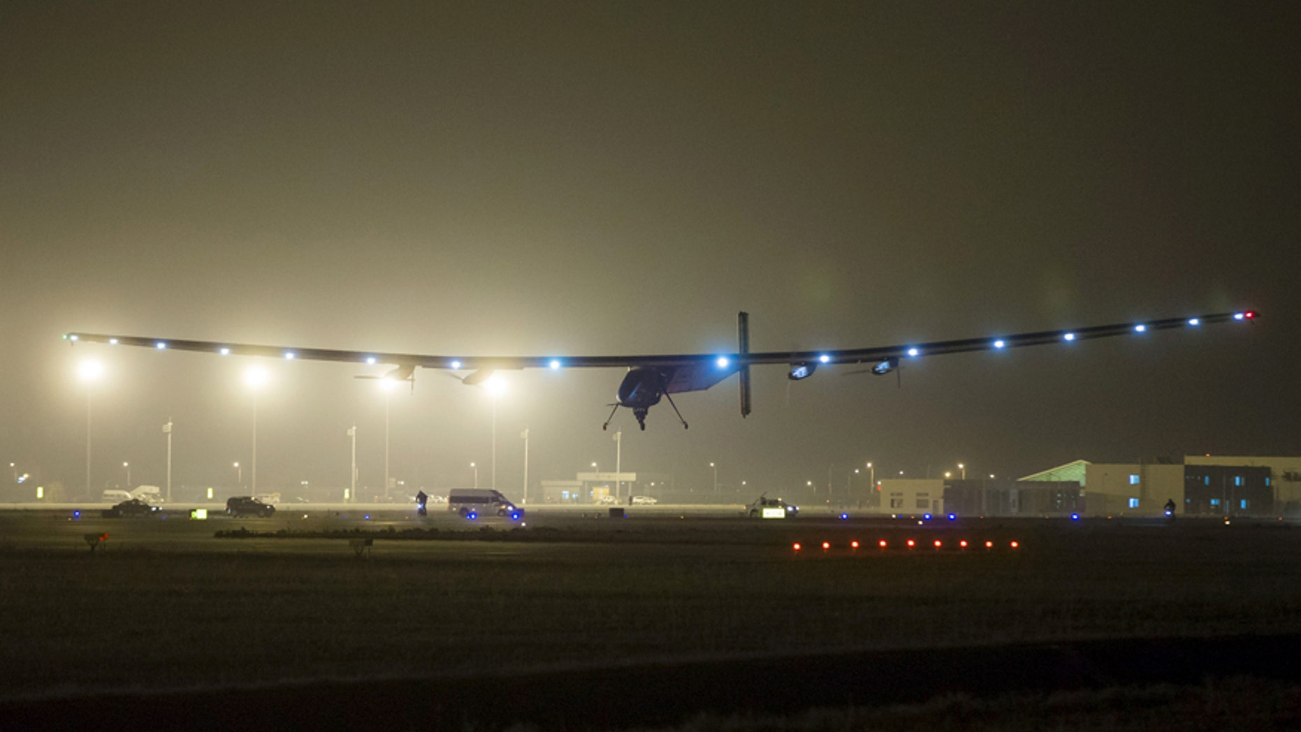 The Solar Impulse 2 plane is seen landing at Nanjing Lukou International Airport, Jiangsu province April 21, 2015.