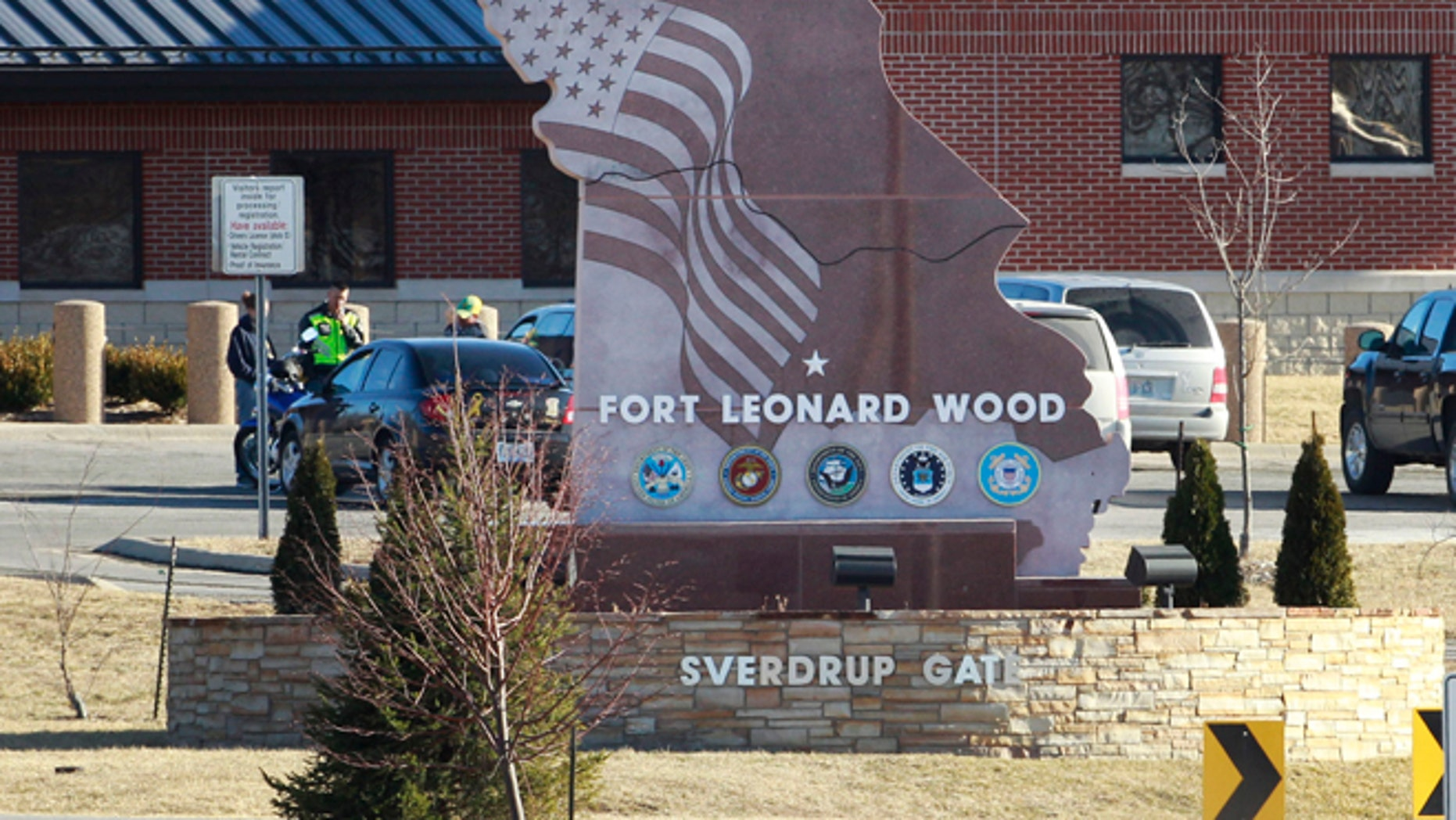 Feb, 18, 2011: In this file photo a vehicle drives out of the Sverdrup Gate of Fort Leonard Wood near Rolla, Mo. (AP)