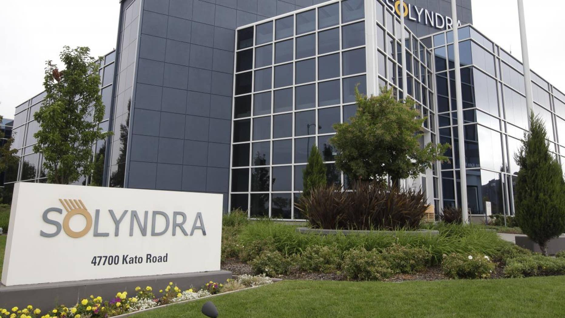 This photograph shows exterior view of Solyndra headquarters in Fremont, Calif., Thursday, Sept. 8, 2011. The FBI are executing search warrants at the headquarters of California solar firm Solyndra that received a $535 million loan from the federal government. (AP Photo/Paul Sakuma)