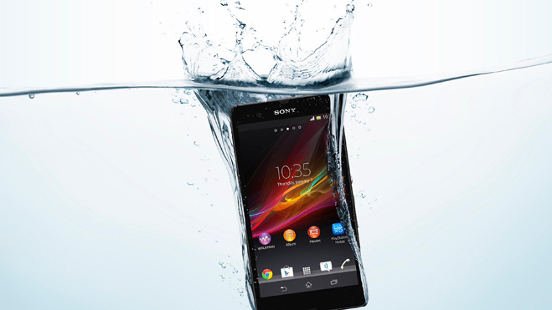 The Sony Xperia Z has a water-resistant shell, meaning you can submerge the phone up to 3 feet deep for up to 30 minutes.