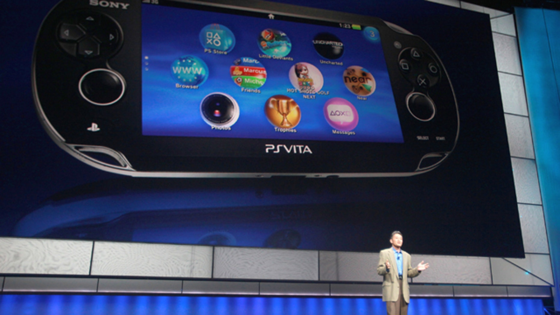 June 6, 2011: Kazuo Hirai, President and Group CEO of Sony Computer Entertainment, introduces the company's next generation portable gaming machine, PlayStation Vita, during a news conference at the E3 Gaming Convention in Los Angeles.