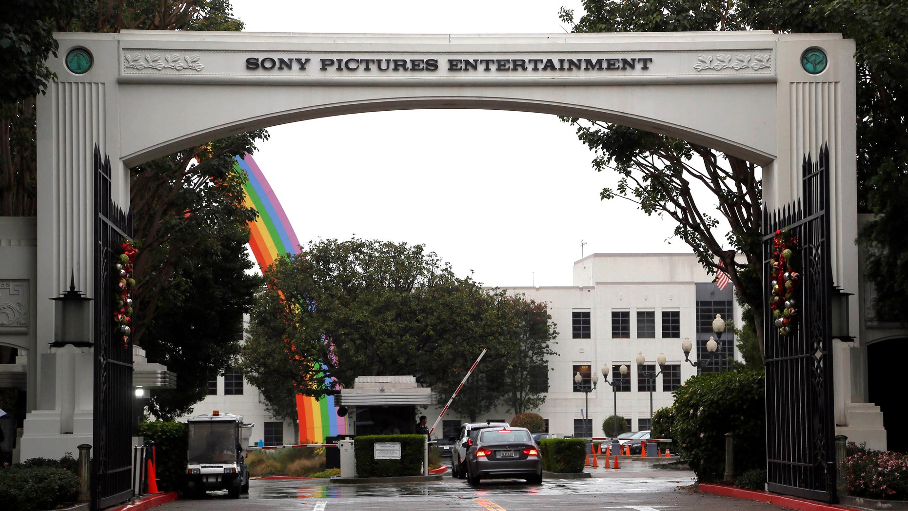 Cars enter Sony Pictures Entertainment headquarters in Culver City, Calif. on Dec. 2, 2014.