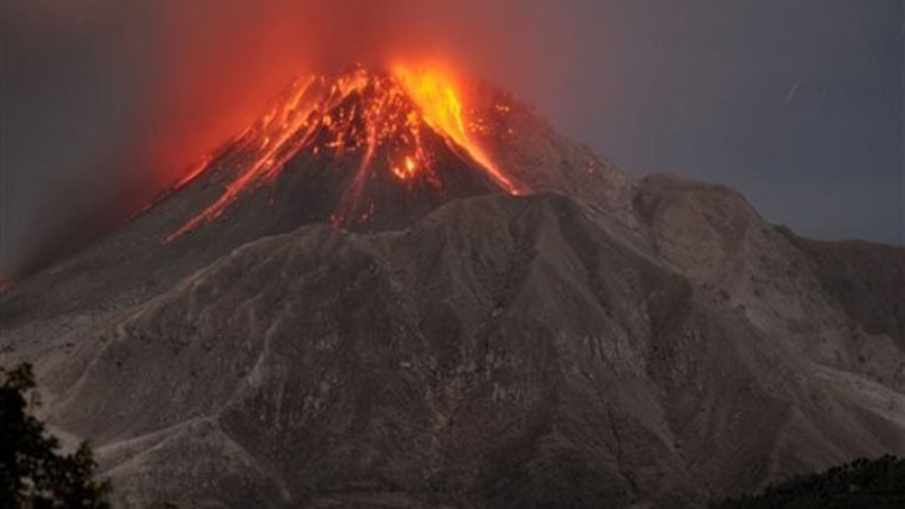 The Soufriere Hills volcano erupts in the Caribbean island of Montserrat, Saturday, Jan. 23, 2010.