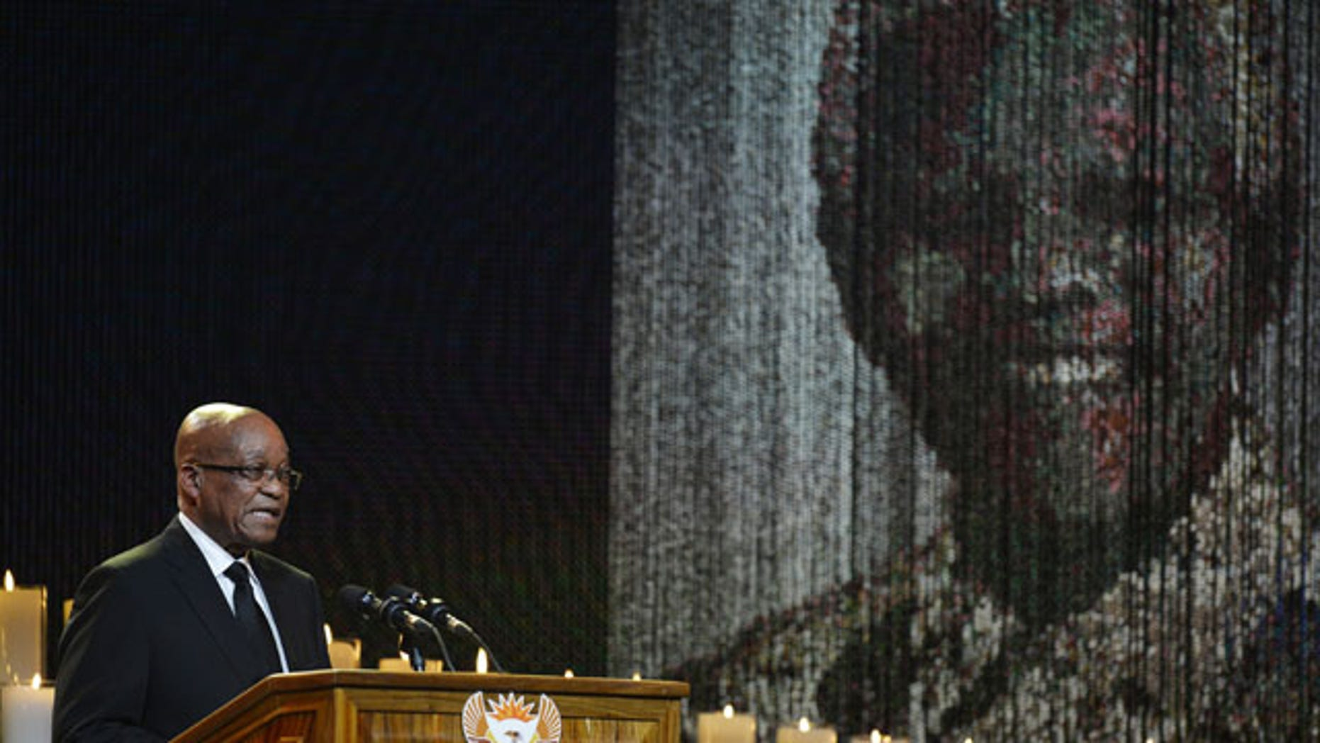 December 15, 2013: South Africa President Jacob Zuma speaks during the funeral service for former South African President Nelson Mandela in Qunu, South Africa. (AP Photo/Odd Andersen, Pool)