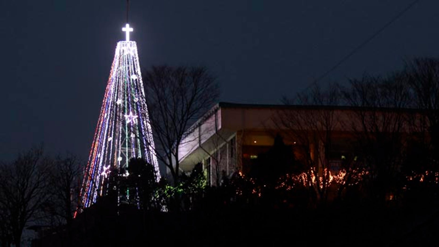 This Tuesday, Dec. 21, 2010 photo shows a giant steel Christmas tree lit up at the western mountain peak known as Aegibong in Gimpo, South Korea. South Korean military officials said they pulled down the tree near the country's heavily-armed border with North Korea at a time when the countries are pursuing better ties after months of animosity. (AP Photo/Lee Jin-man)