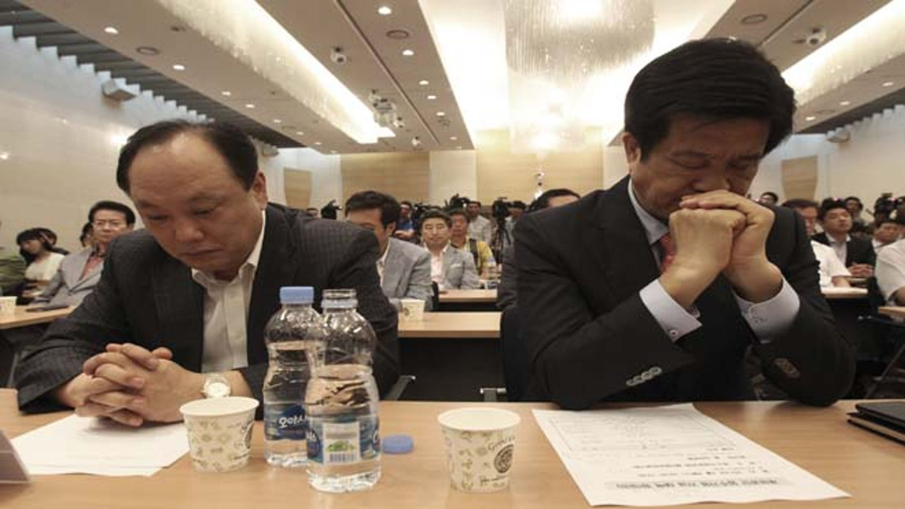 July 3, 2013: South Korean owners who run factories in the suspended inter-Korean Kaesong Industrial Complex, attend an emergency meeting in Seoul, South Korea. The owners demanded the South Korean Unification Ministry to approve a visit to the North Korean border town Kaesong and insisted their government and North Korean authorities resume the operation of the joint industrial complex.