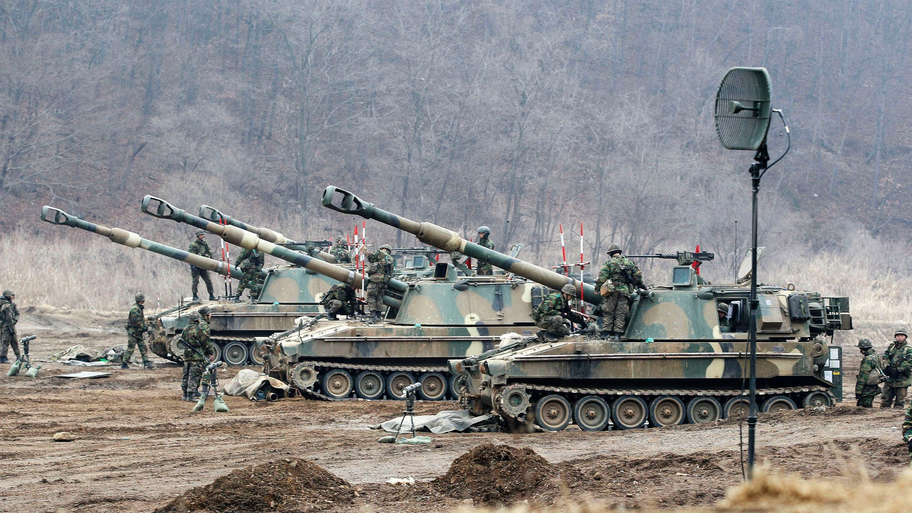 March 7, 2013 - South Korean soldiers work on their K-9 self-propelled artillery vehicles during an exercise against possible attacks by North Korea near the border village of Panmunjom in Paju, South Korea.