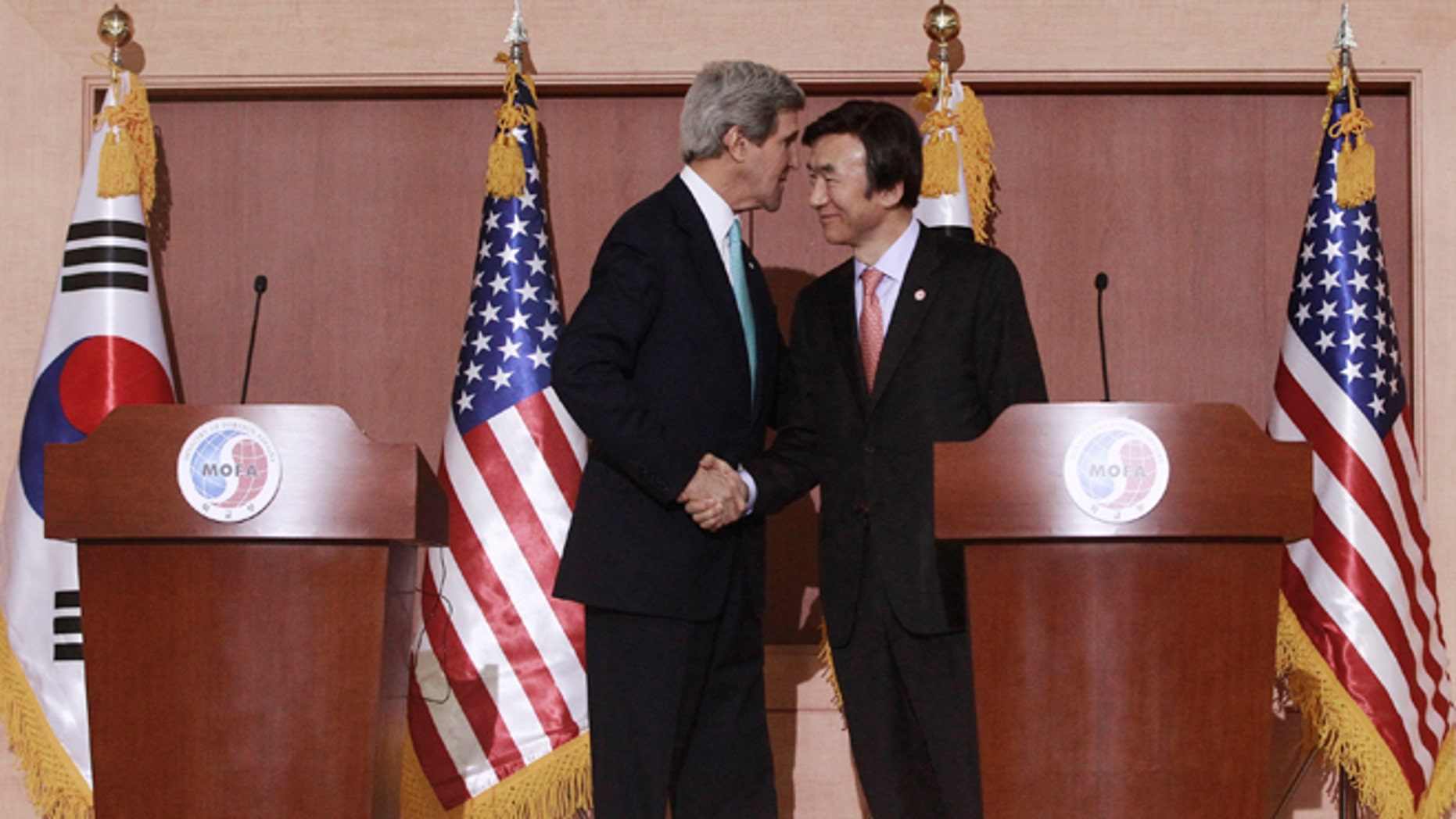 Feb. 14, 2014: U.S. Secretary of State John Kerry, left, shakes hands with South Korean Foreign Minister Yun Byung-se at the end of their press conference at the Foreign Ministry in Seoul, South Korea.