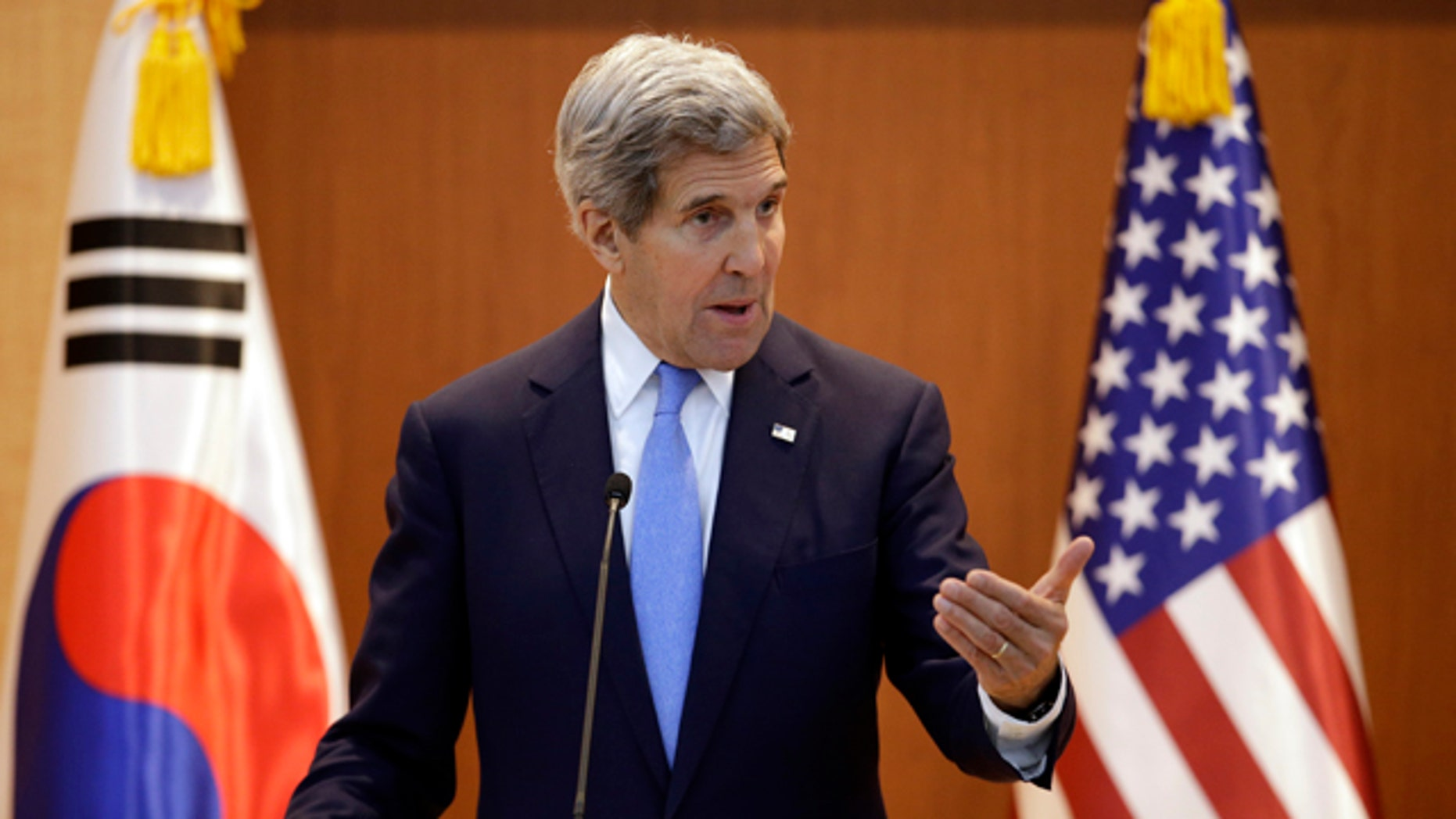 May 18, 2015: U.S. Secretary of State John Kerry answers a reporter's question during a joint news conference following meetings with South Korean Foreign Minister Yun Byung-se at the Foreign Ministry in Seoul. (AP Photo/Lee Jin-man, Pool)